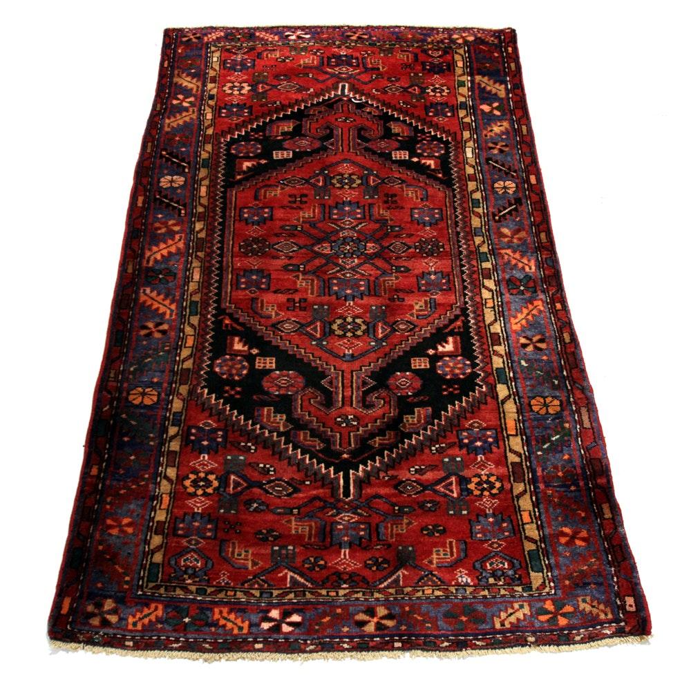 Hand-Knotted Persian Kurdish Bijar Wool Area Rug
