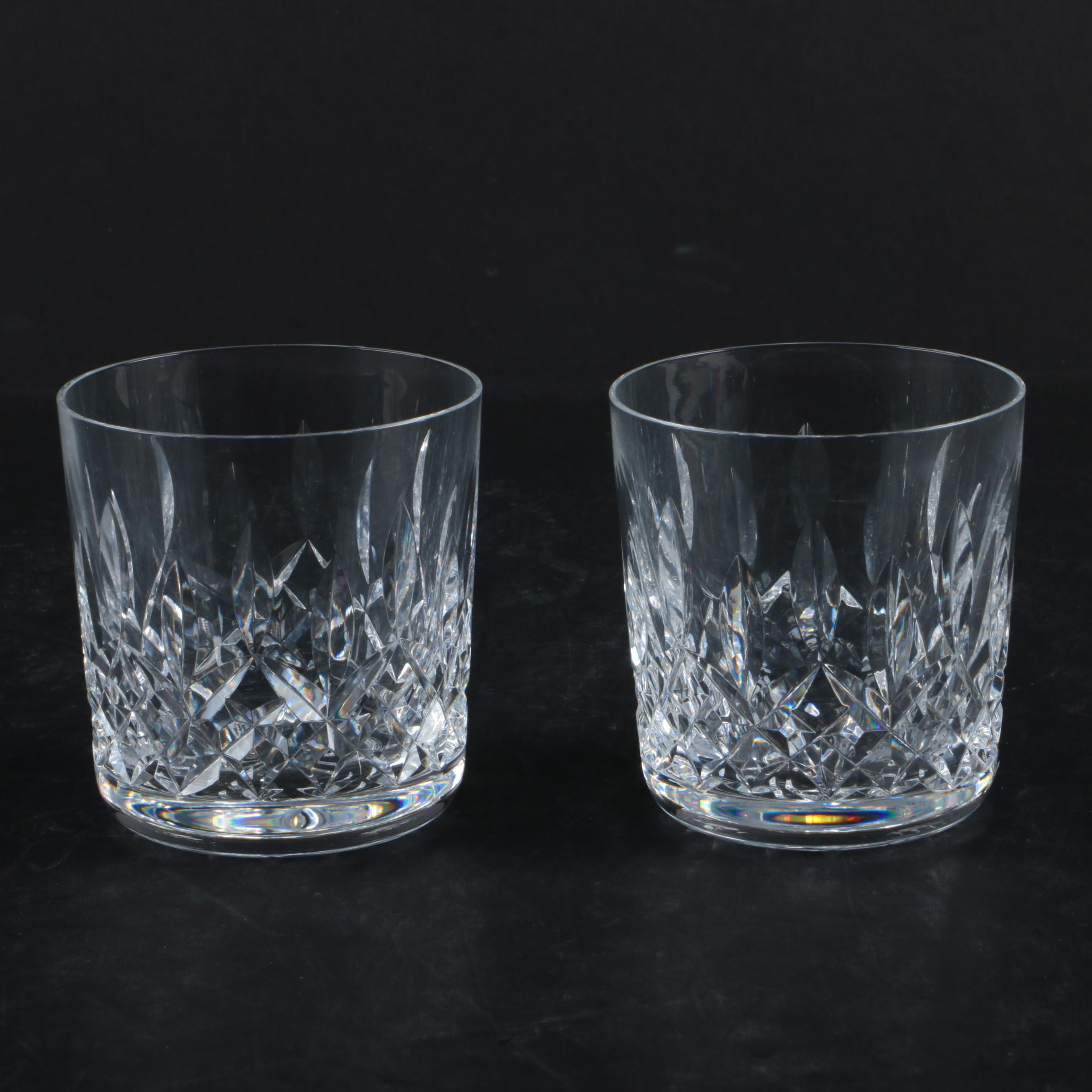 """Waterford """"Lismore"""" Crystal Old Fashioned Glasses"""