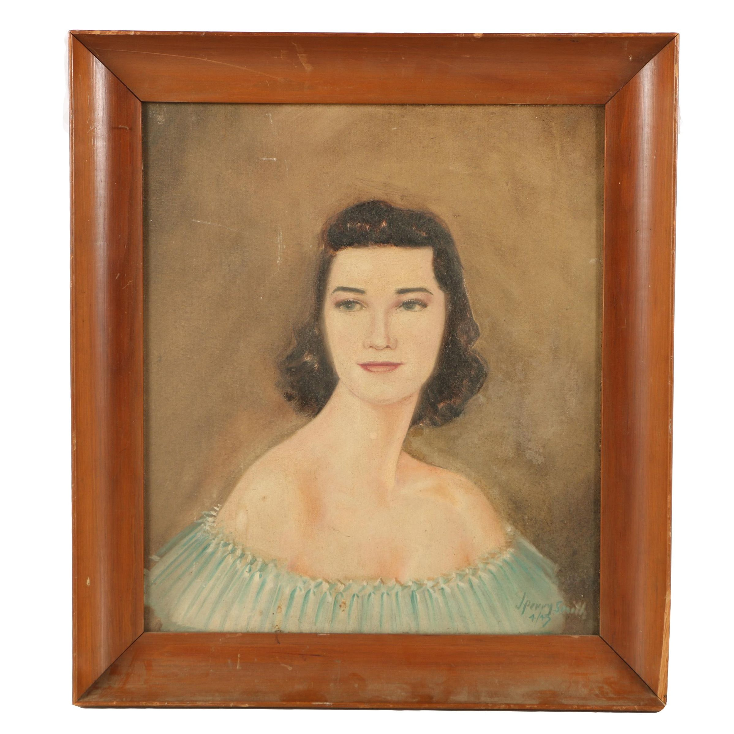 J. Perry Smith Oil Painting on Canvas Board of Woman in Pale Aqua Gown