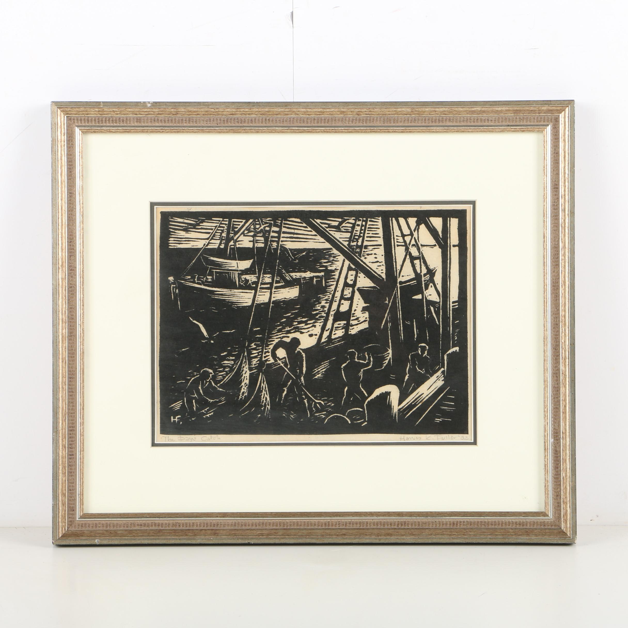 "Henry K. Fuller Woodblock Print on Paper ""The Day's Catch"""