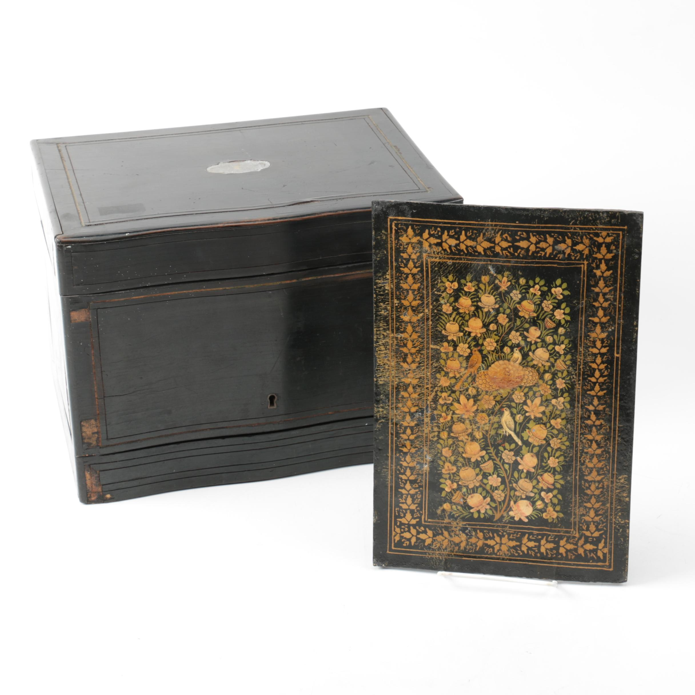 Antique Cave à Liqueur Ebonized Wooden Box and Floral Panel