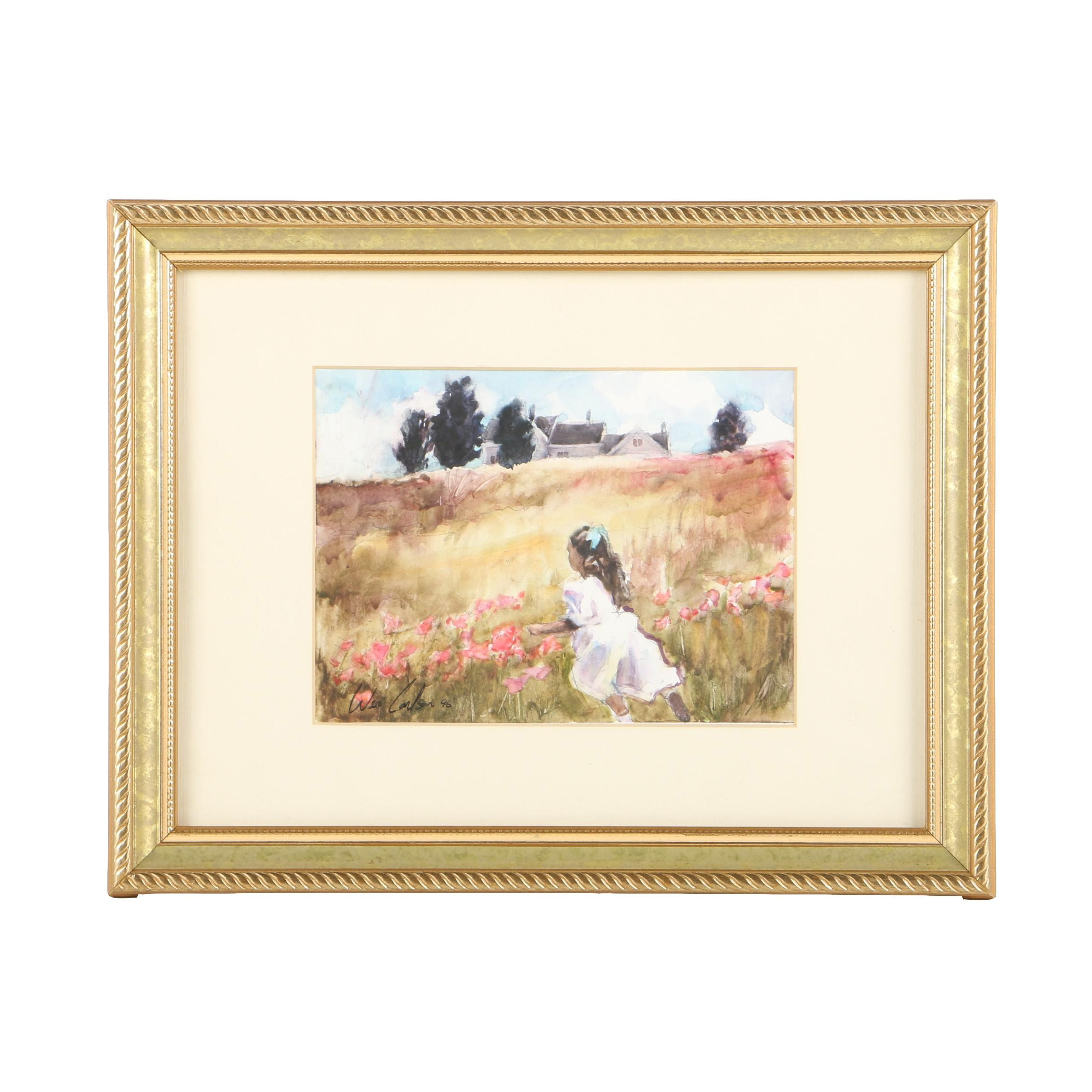 Wes Carlson Watercolor Painting on Paper of Girl in Field