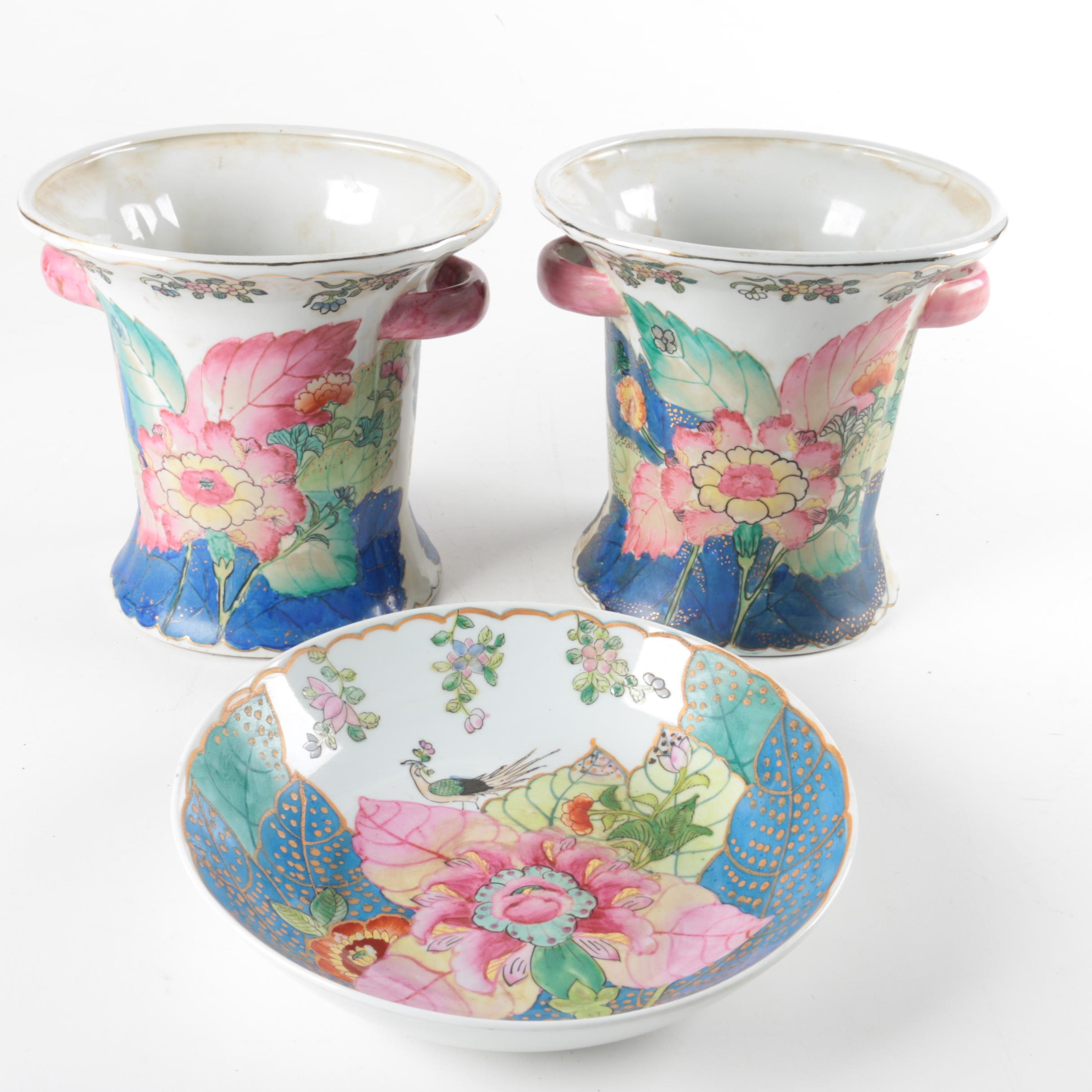 Chinese Tobacco Leaf  Bowl and Matching Vases