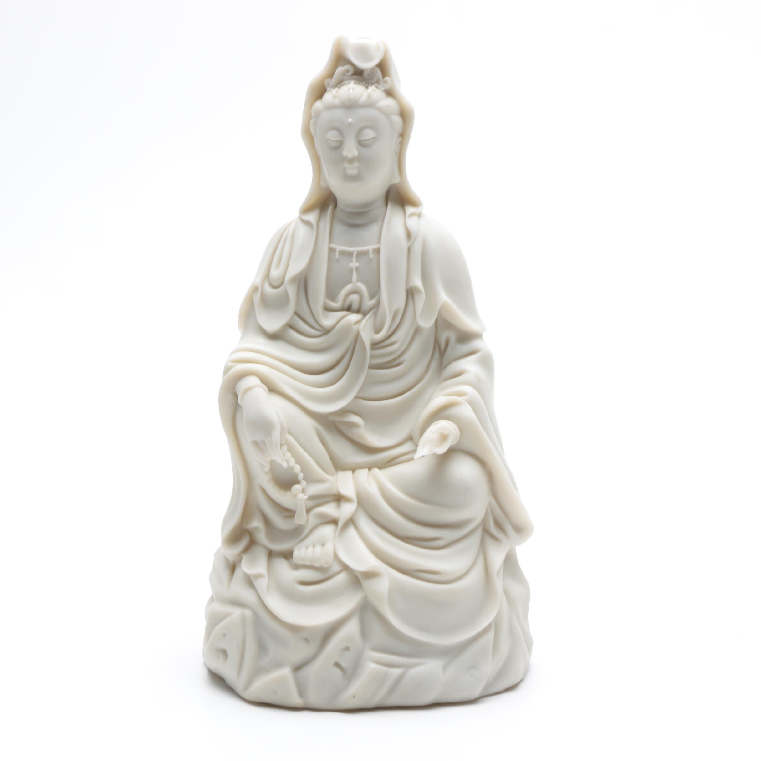 Seated Guanyin Figurine with Beads