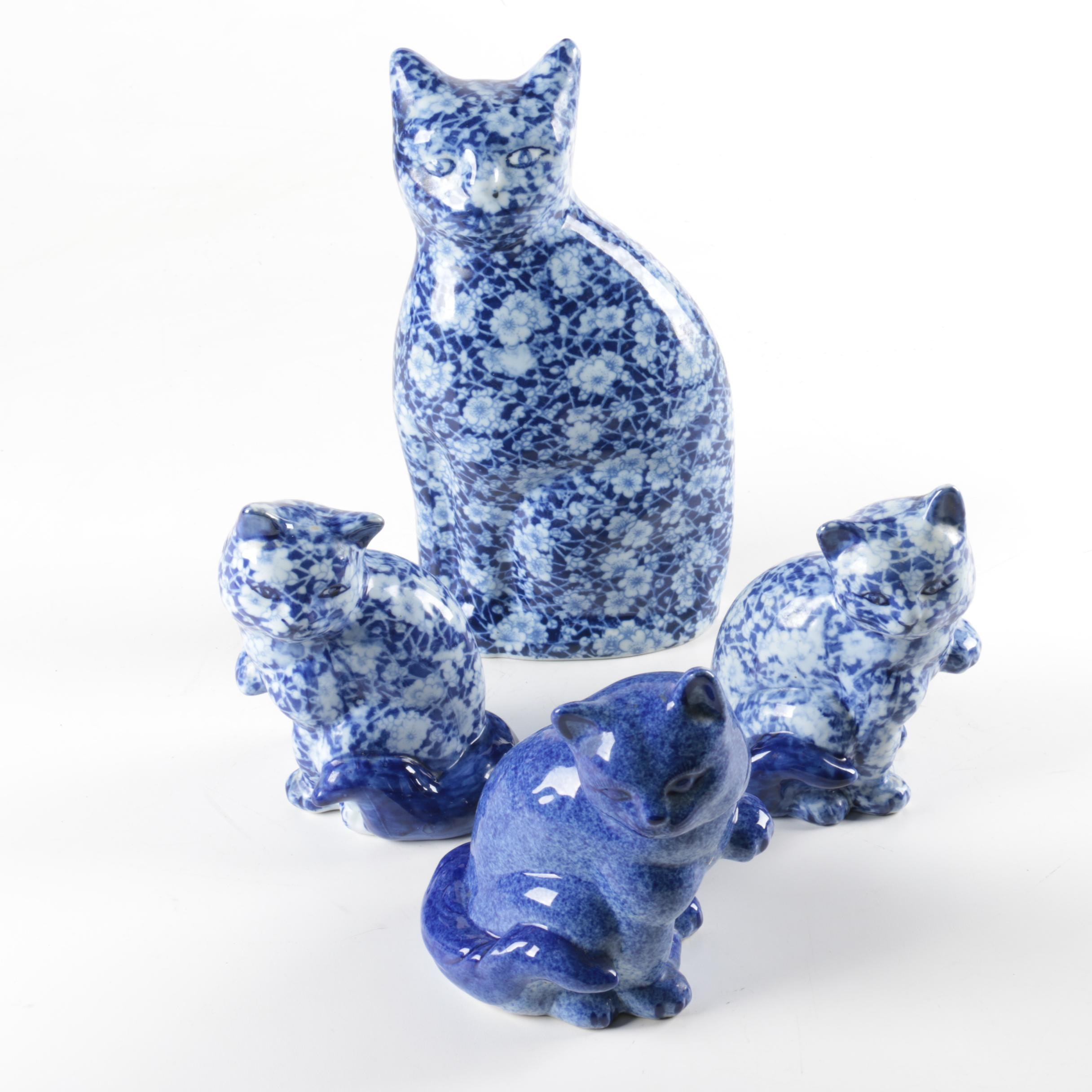 Blue and White Calico Cat Figurines