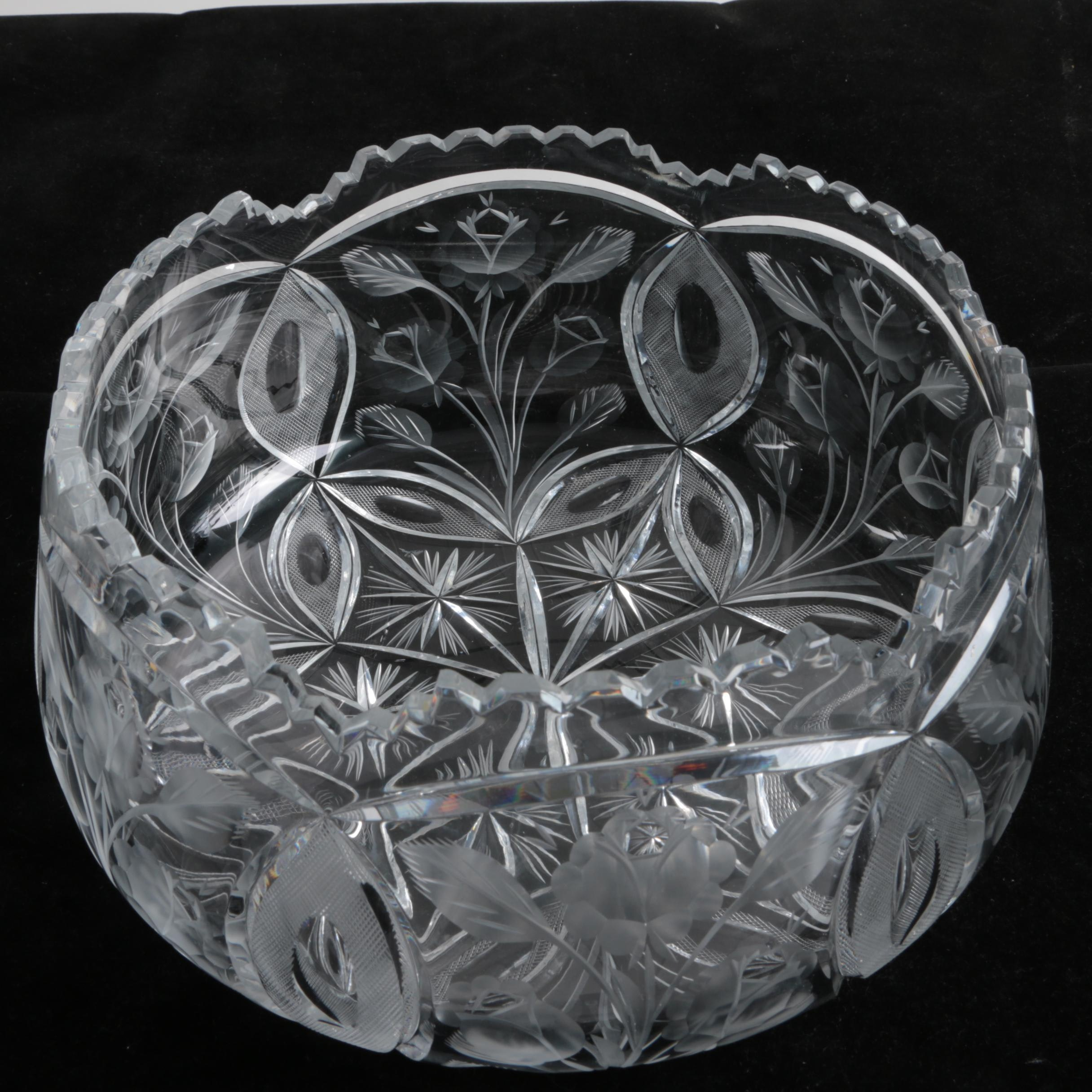 Pressed and Cut Crystal Bowl
