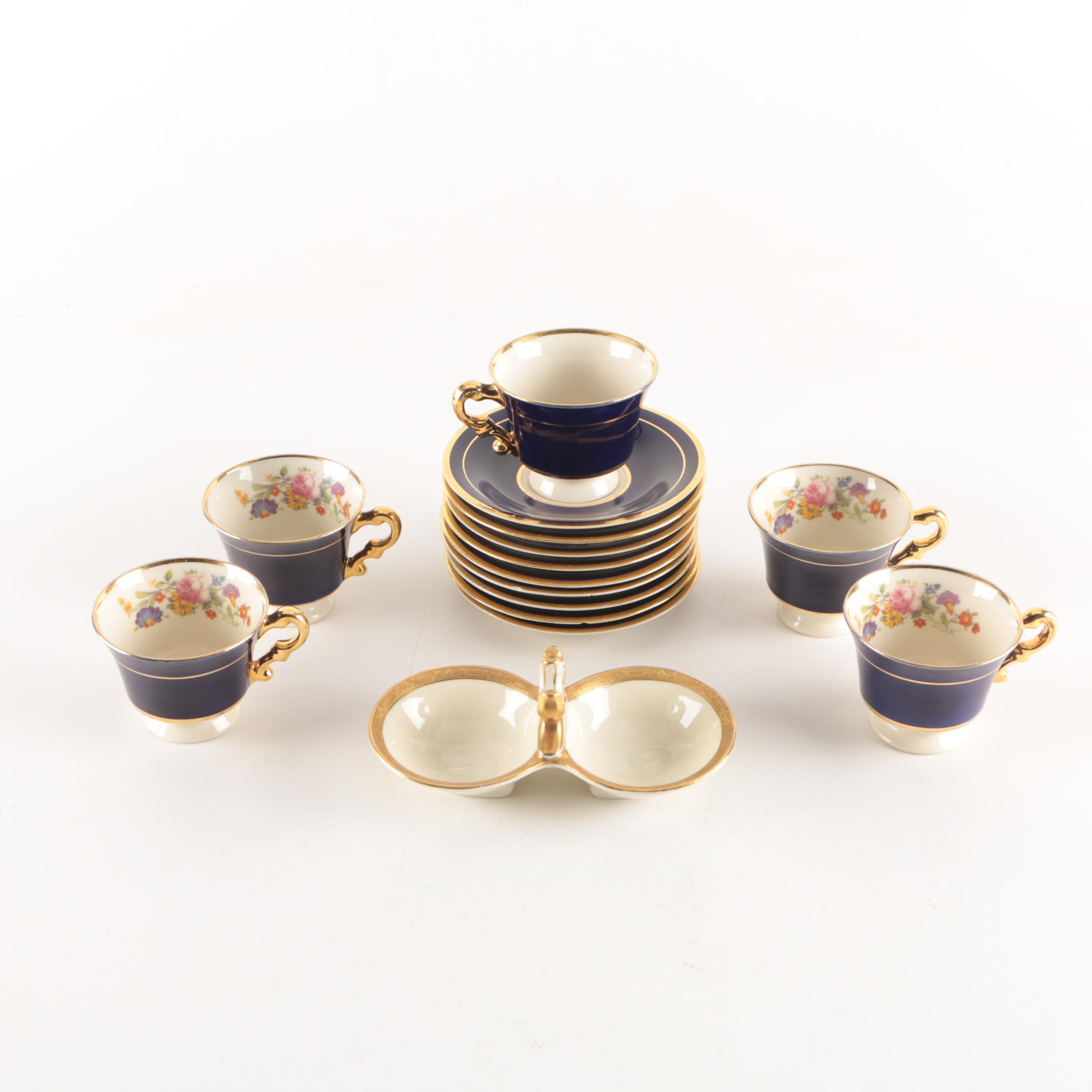 """Syracuse China """"Old Ivory"""" Demitasse Cups and Saucers with Bavarian Salt Cellar"""