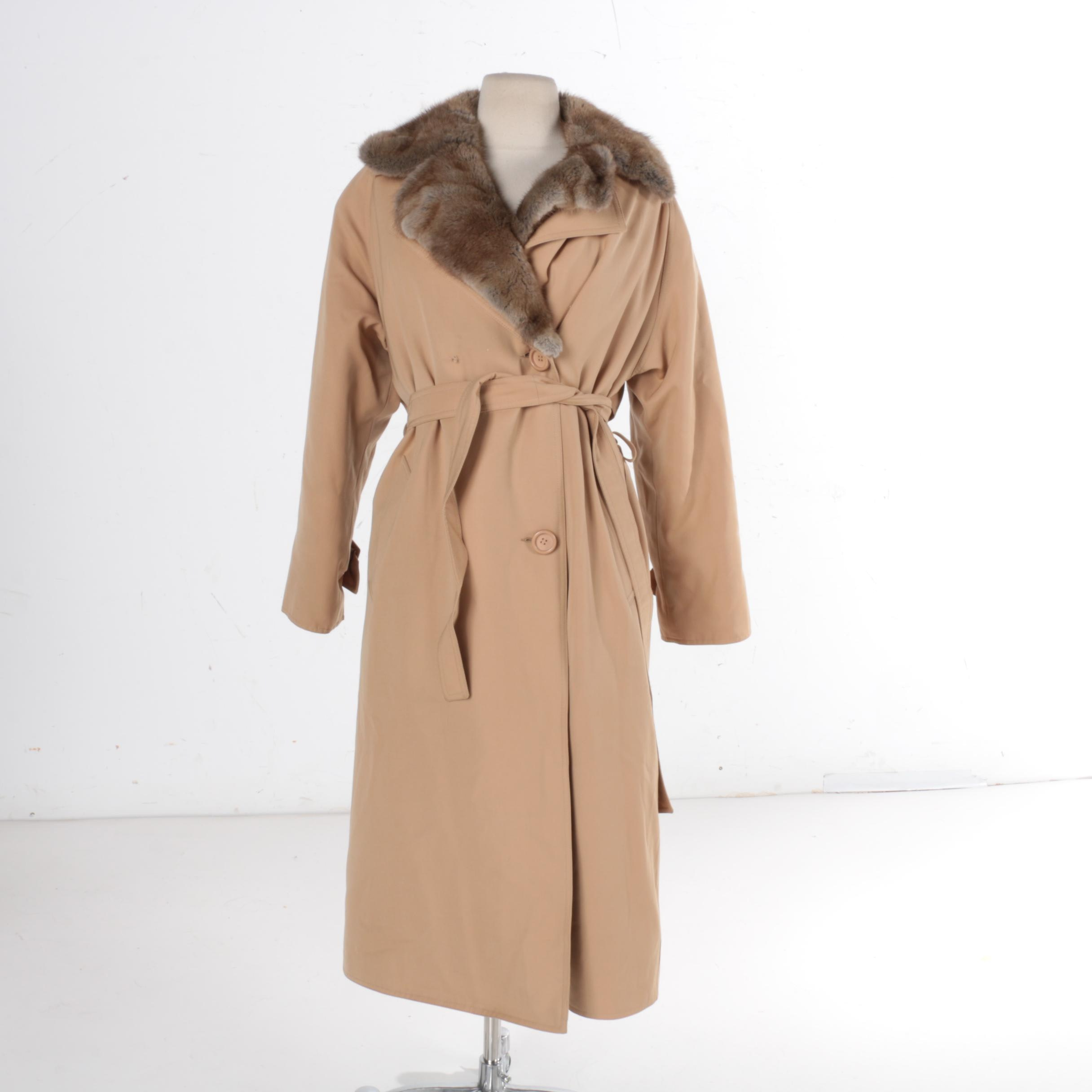 Women's Muskrat Fur Lined Trench Coat