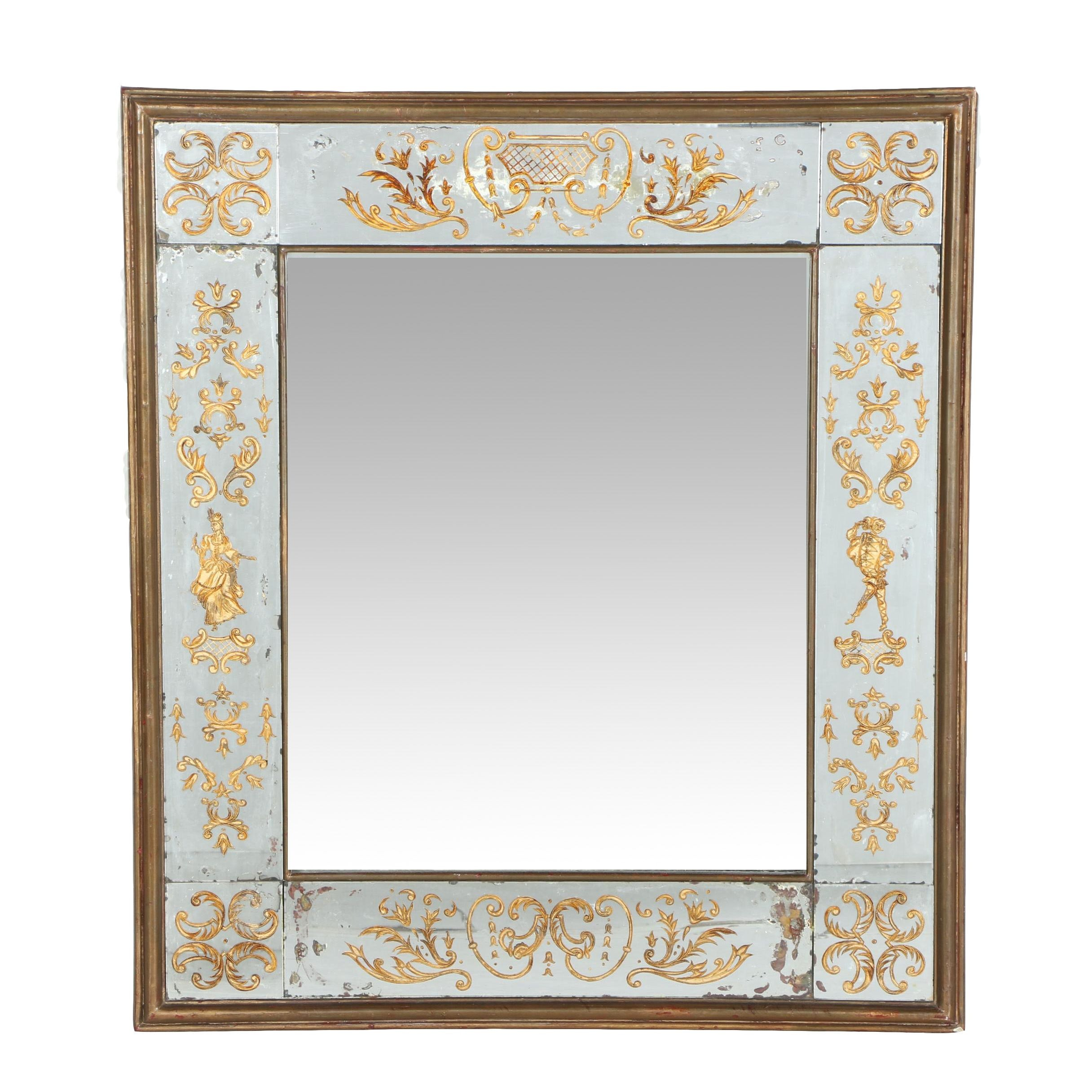 Vintage Wall Mirror with Painted Images