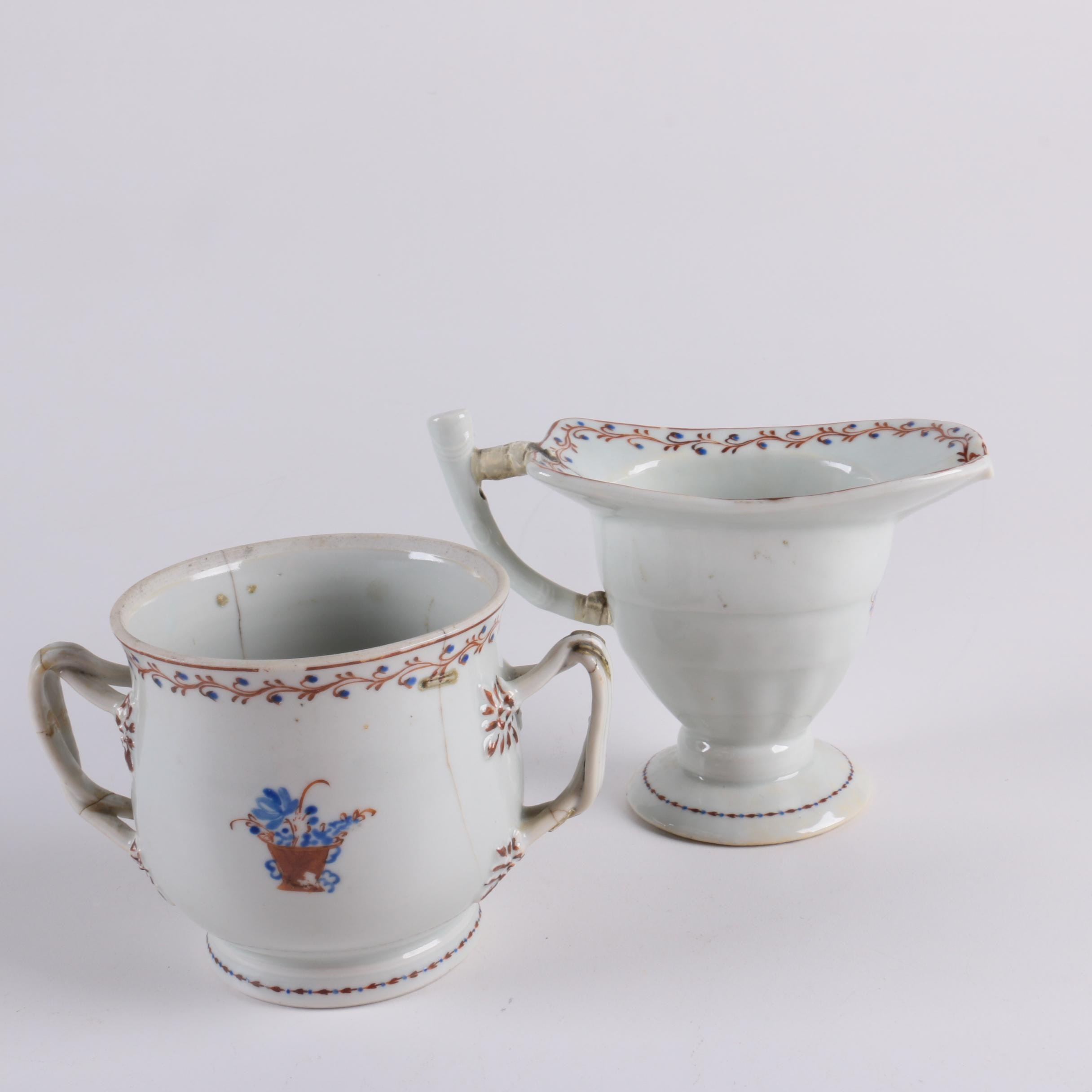 Antique Chinese Export Footed Creamer and Sugar Bowl