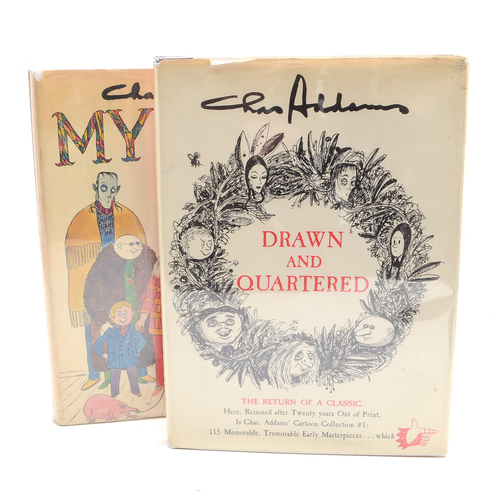 "Signed Chas Addams ""Drawn and Quartered"" and Unsigned ""My Crowd"""