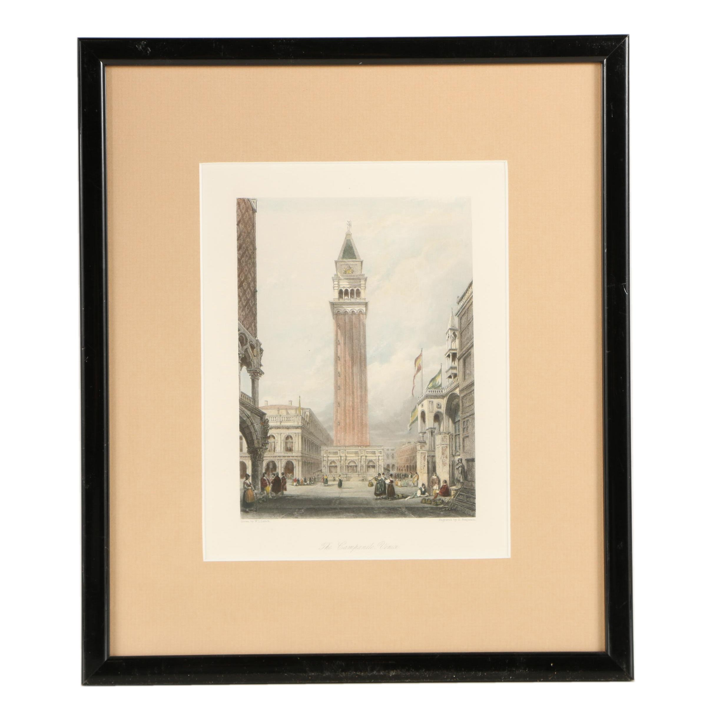 "Antique Hand-Colored Engraving After W. L. Leitch's ""The Campanile, Venice"""