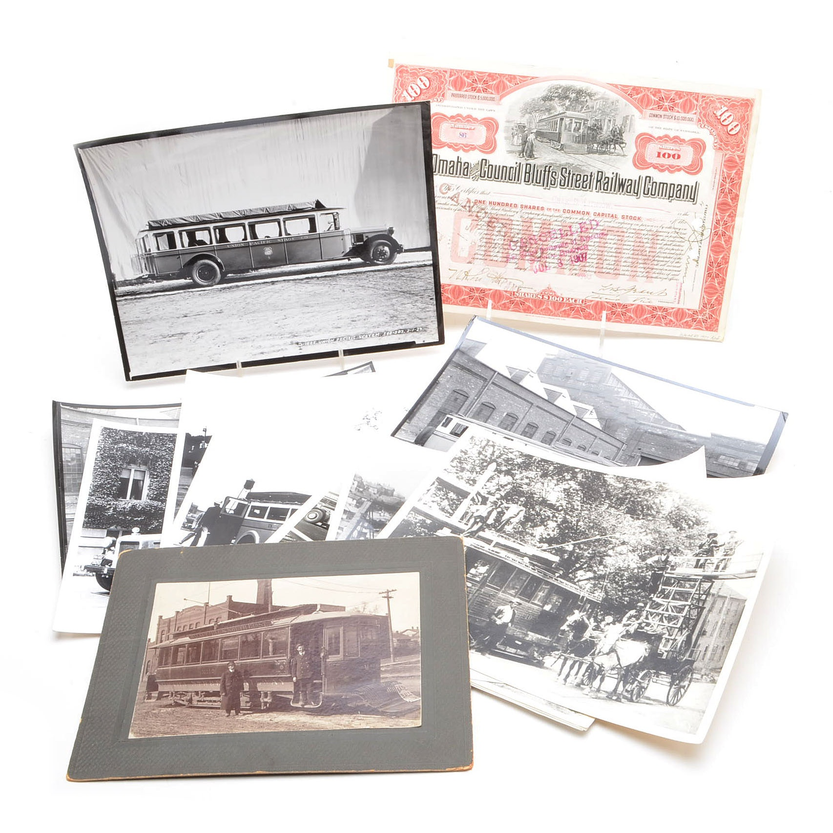 Antique Trolley Car and Bus Photographs With Stock Certificate