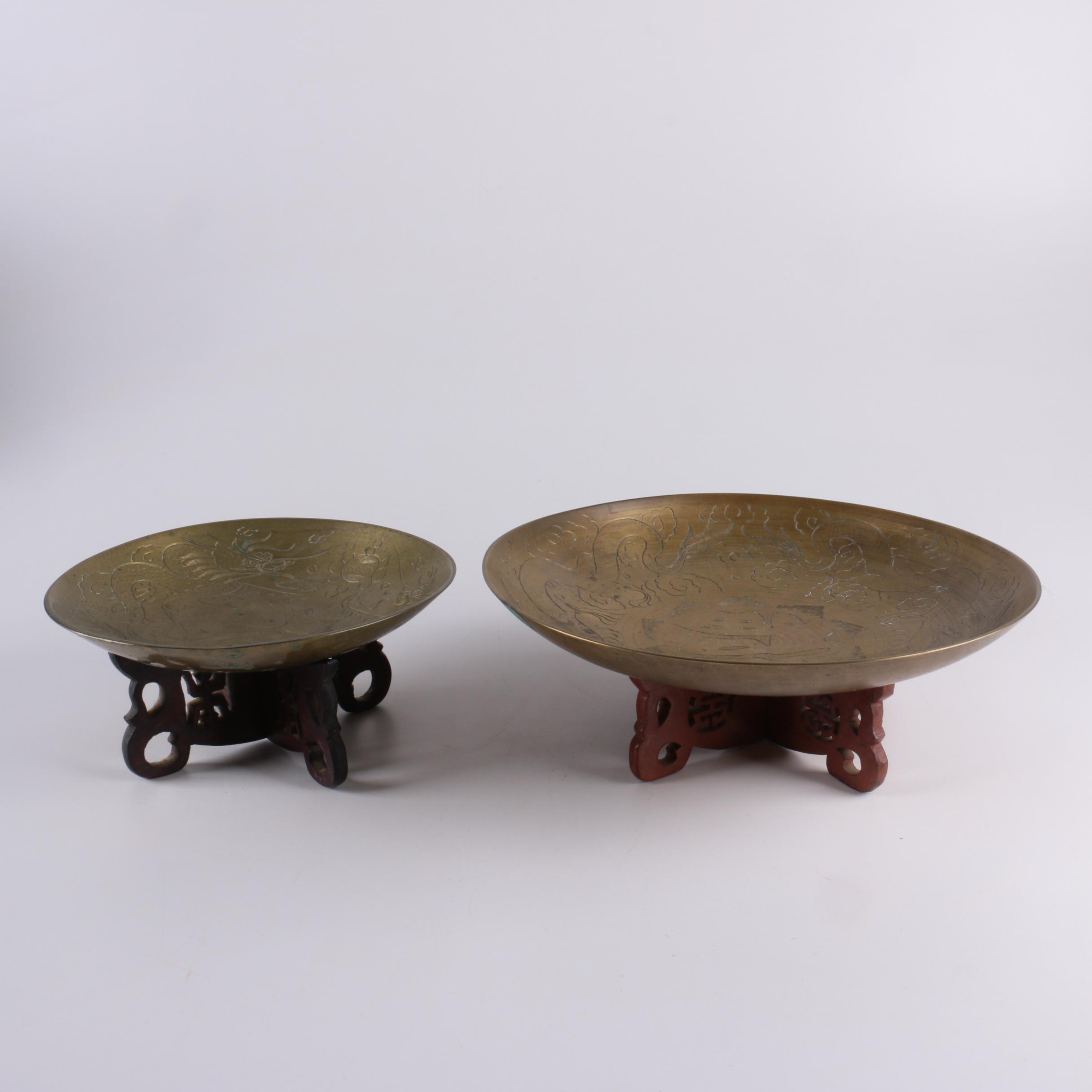 Chinese Brass Dragon Bowls