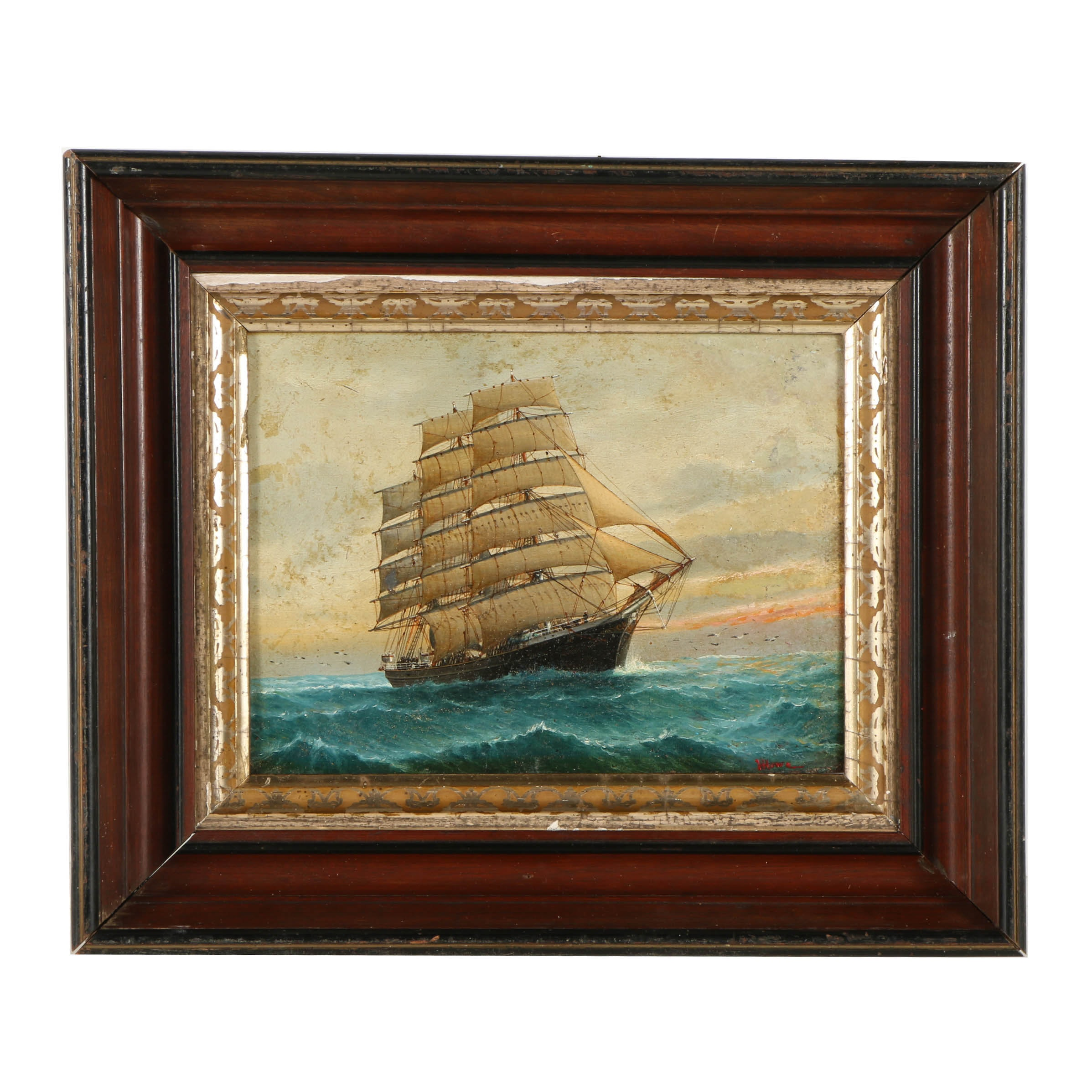 Henry Harlow Howe Oil Painting on Board of a Galleon at Sea