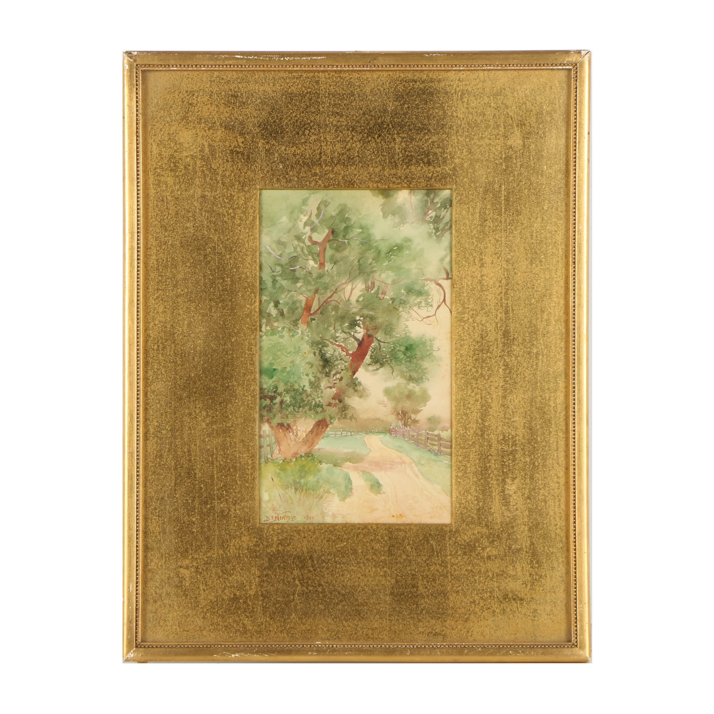 Benjamin Tupper Newman Watercolor Painting on Paper of Landscape