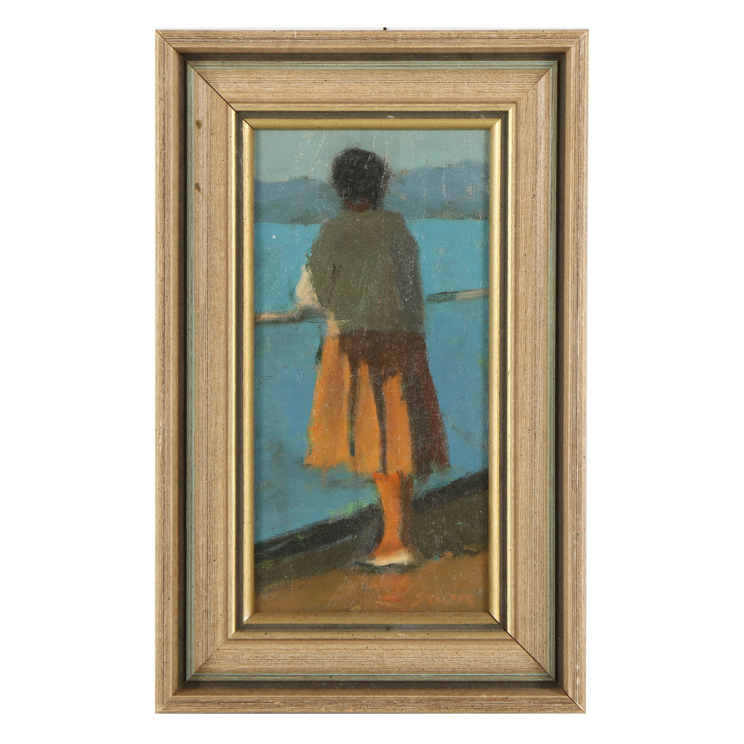 Richard Stalter Oil Painting on Canvas Board Woman Facing the Ocean