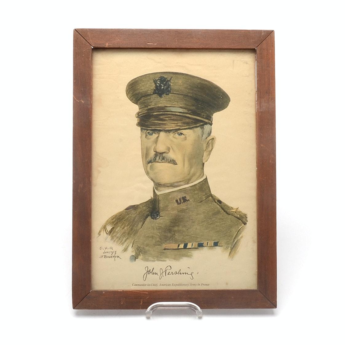 1917 General Pershing U.S. Army Framed Print