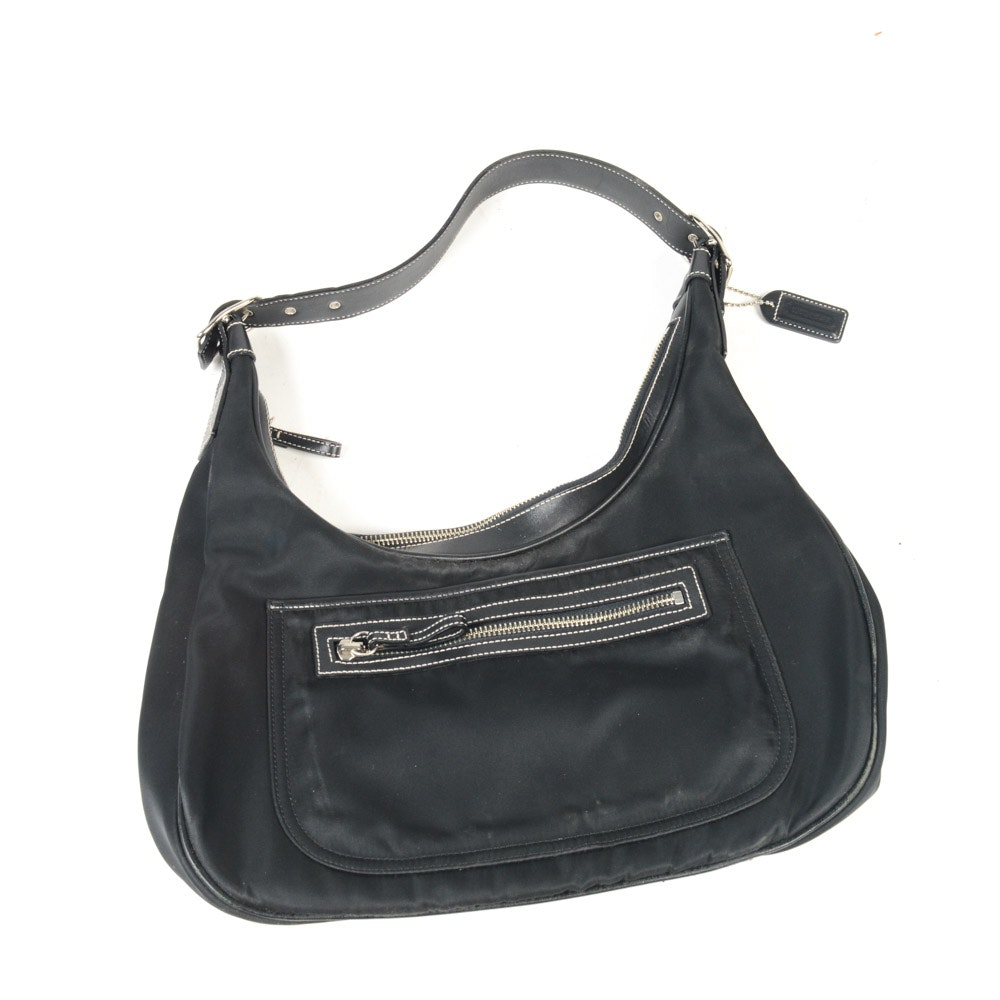 Coach Leather Trimmed Nylon Hobo Shoulder Bag