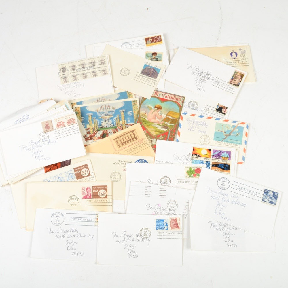 Assorted Vintage Postcards and First Day Stamps