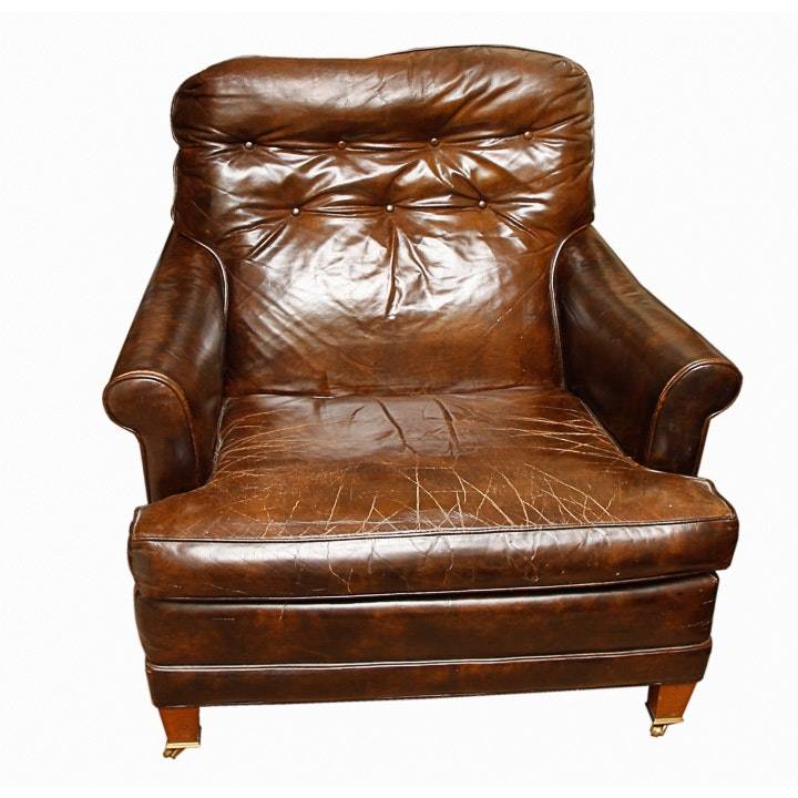 Vintage Brown Leather Chair by Loeblein Creations