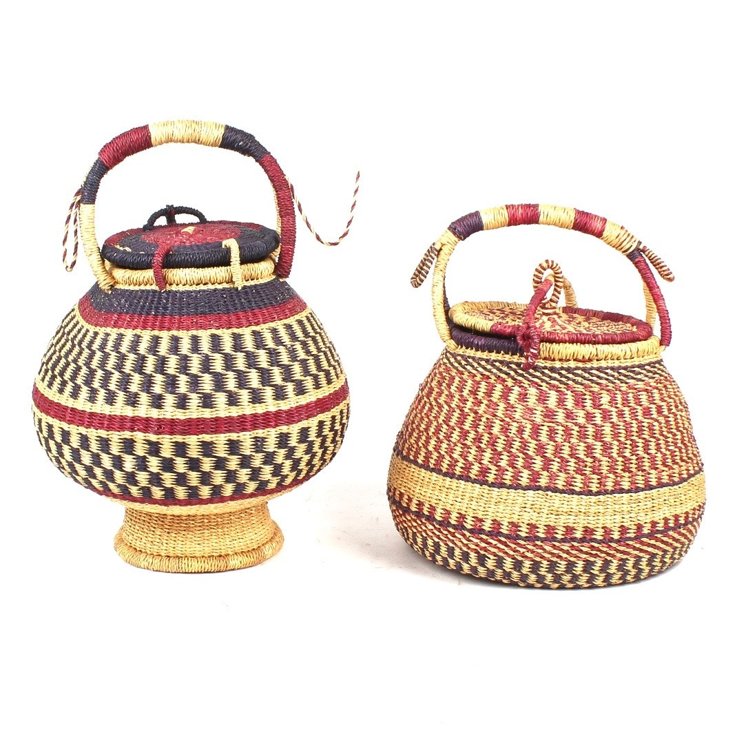 African Bolga Lidded Baskets from Ghana