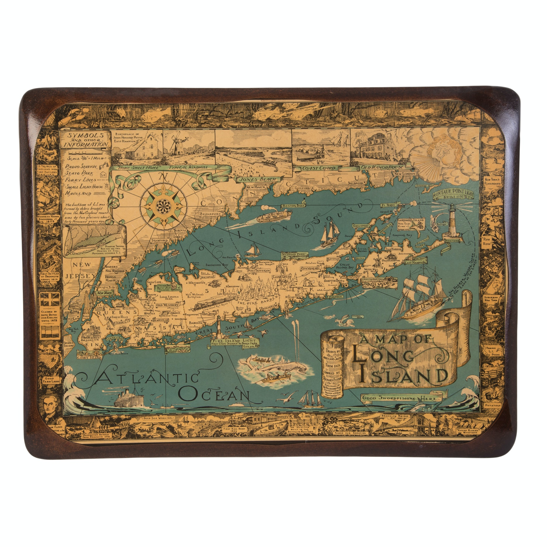 Map Of Long Island, New York Mixed Media Print