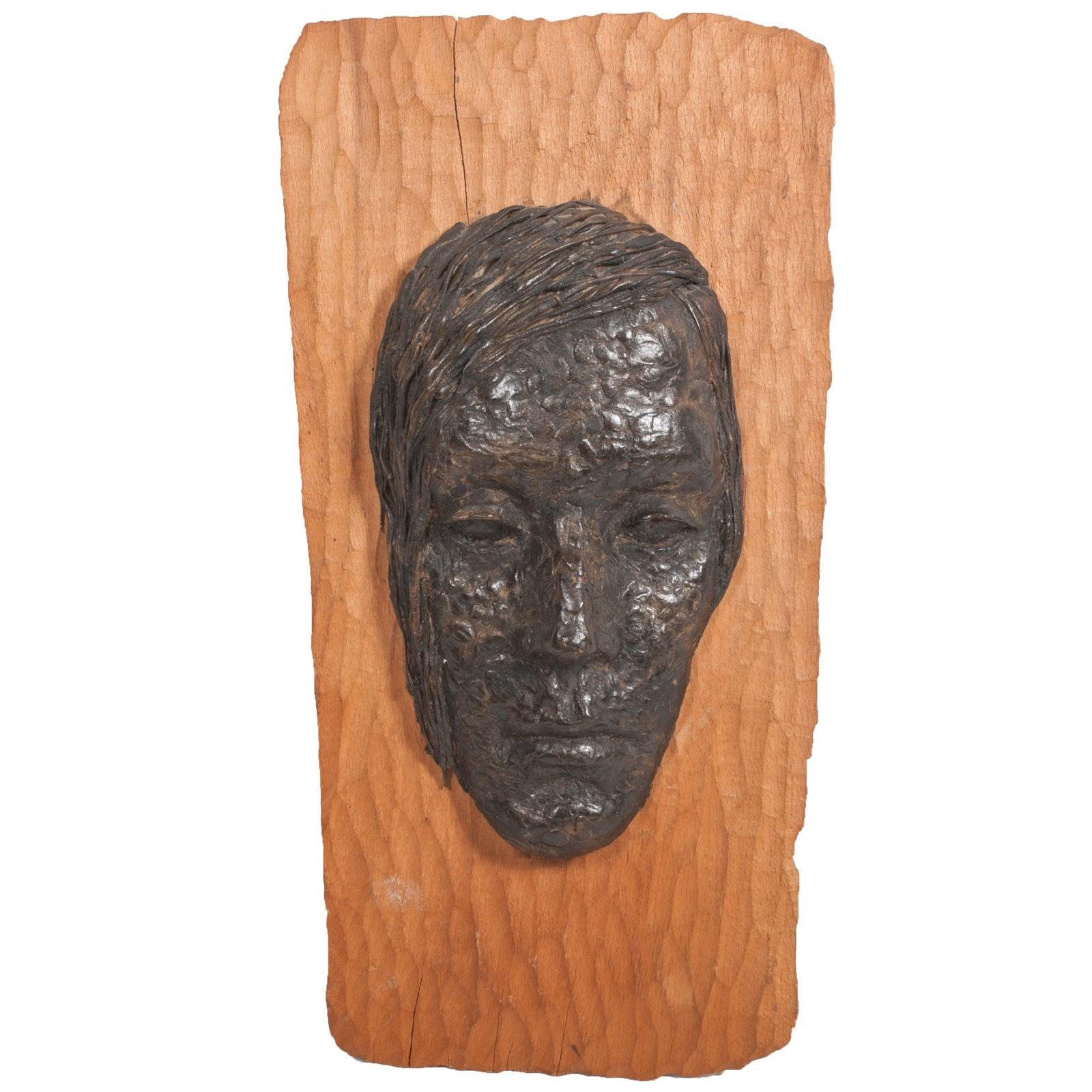 Virginia K. Hess Ceramic on Wood Wall Sculpture of a Face