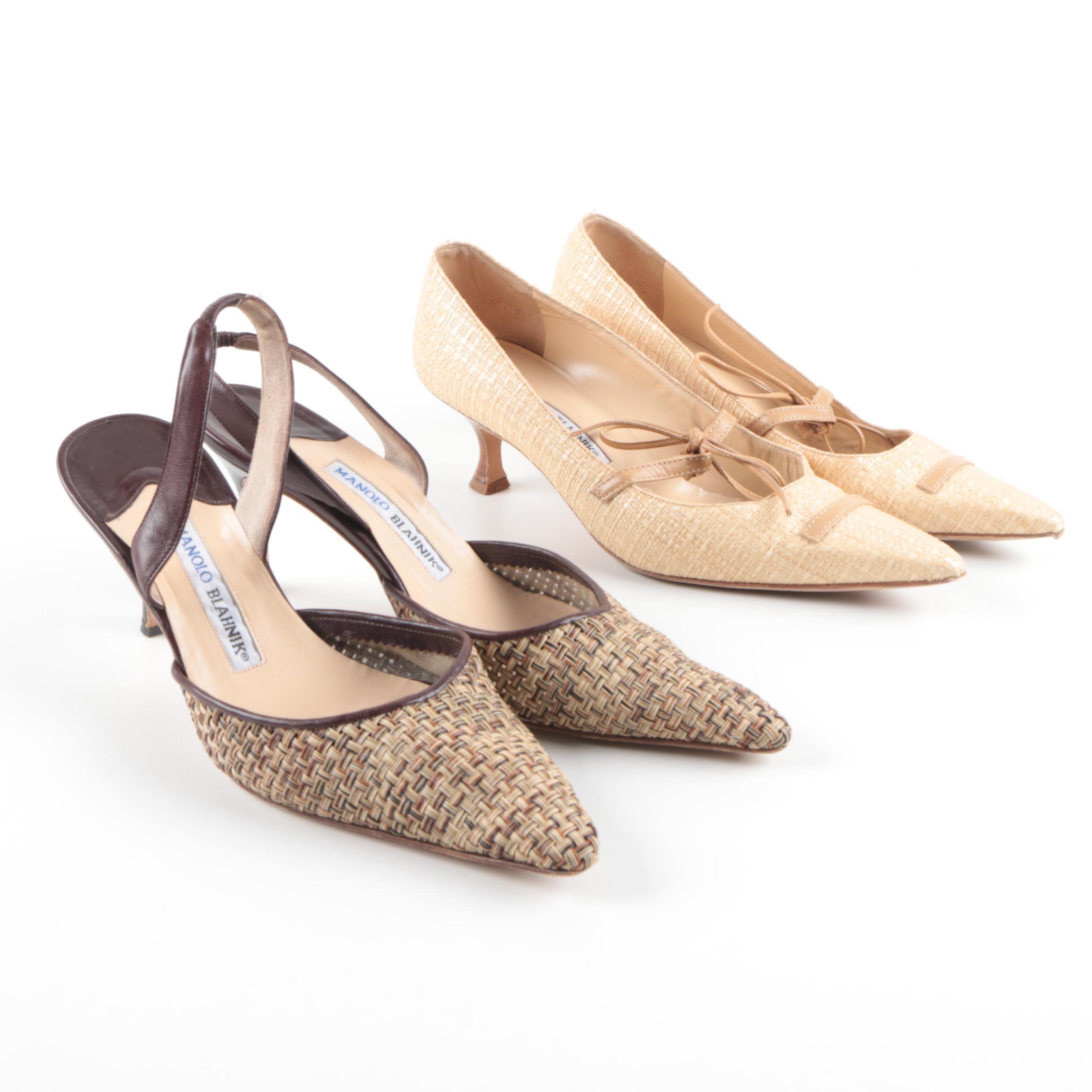 Women's Manolo Blahnik Leather and Raffia-Style Heels