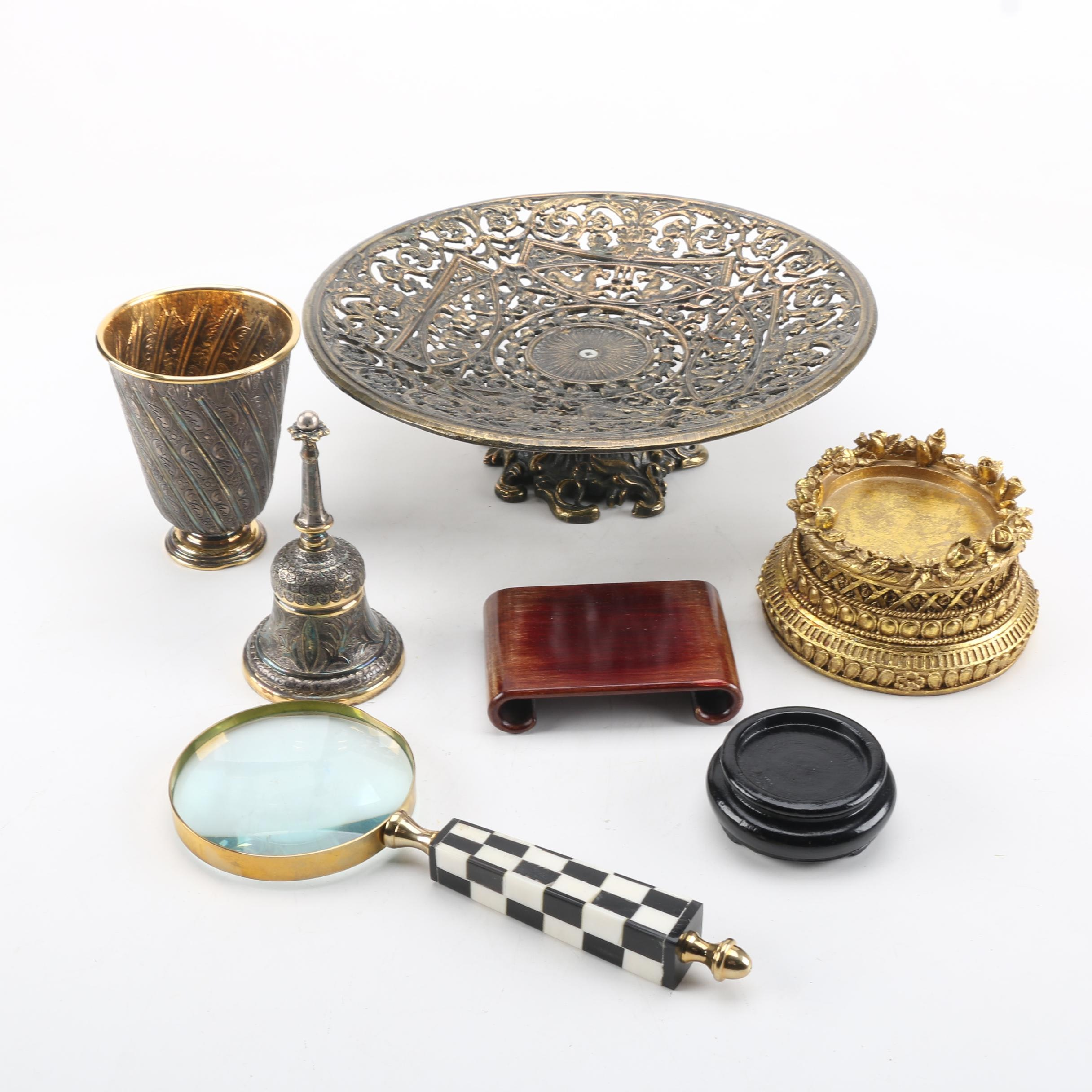 Tane Orfebres Mexican Gilt Sterling Cup and Bell with Other Decorative Items