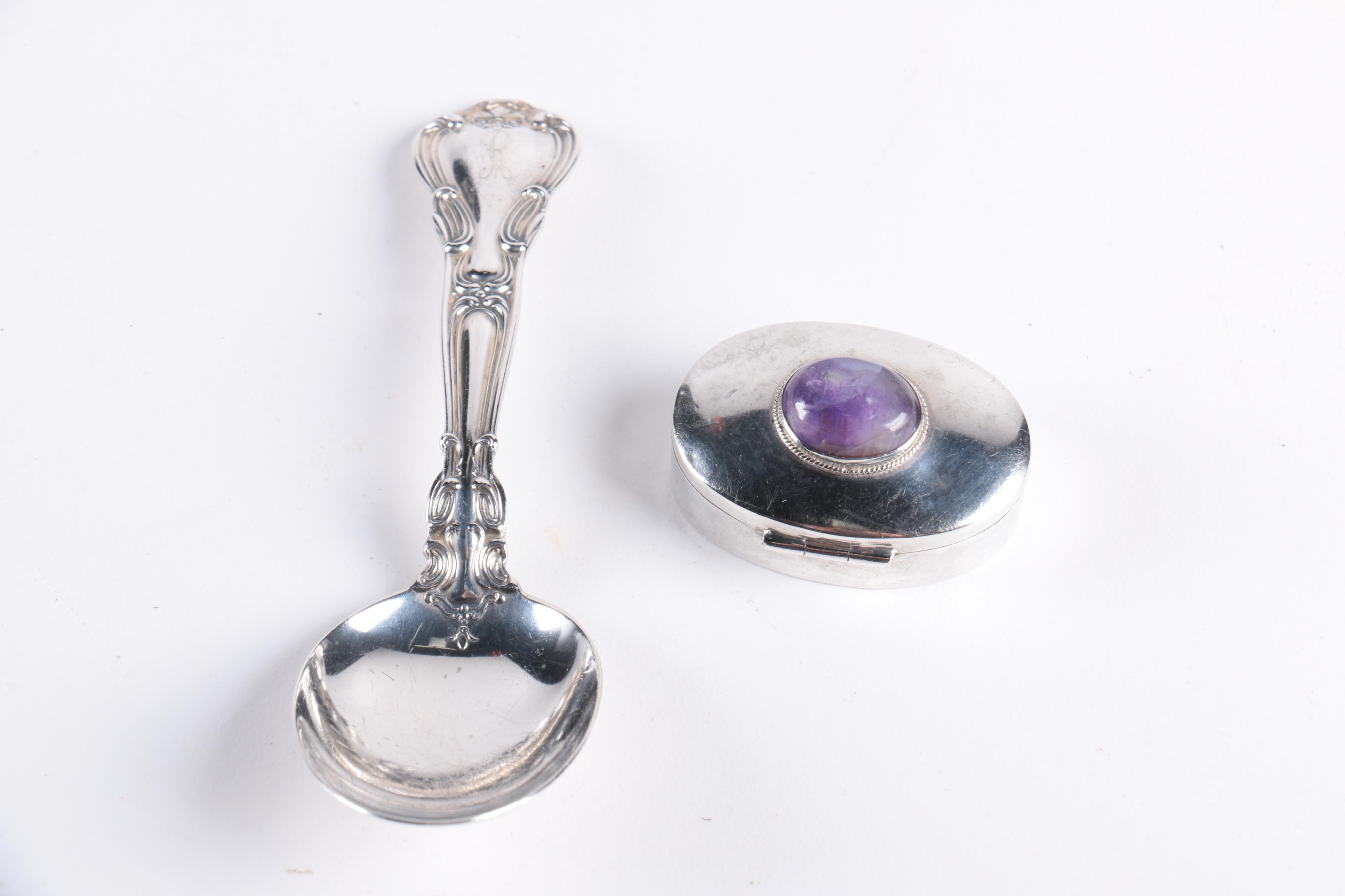 """Gorham """"Chantilly"""" Sterling Baby Spoon with Mexican Sterling and Amethyst Box"""