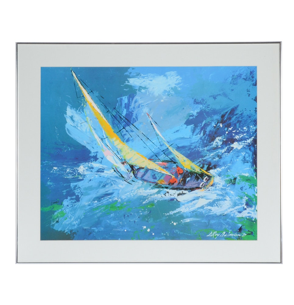 "Offset Lithograph Print after Leroy Neiman ""Sailing"""