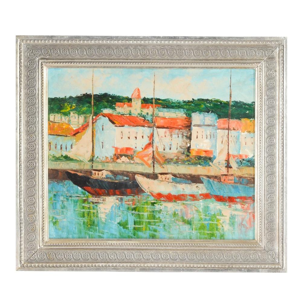 Original Oil Painting on Canvas of Harbor Scene