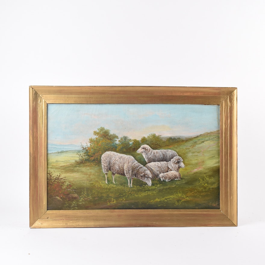 Oil Painting Of Sheep In Pastoral Landscape Ebth