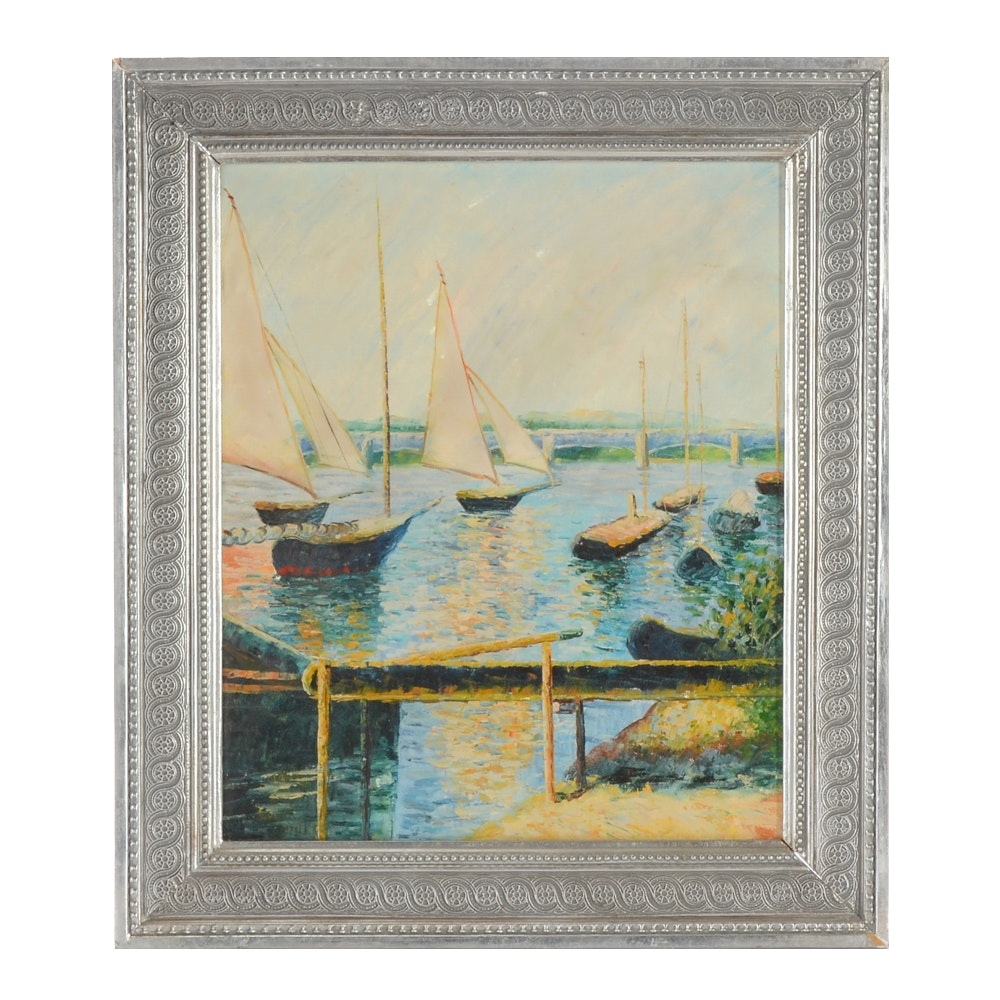 Original Oil Painting on Canvas of Sailboats in Harbor