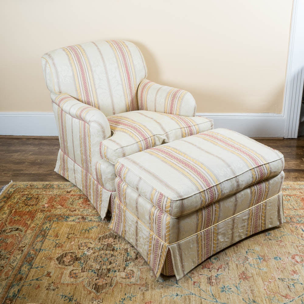 Upholstered English Style Chair and Ottoman