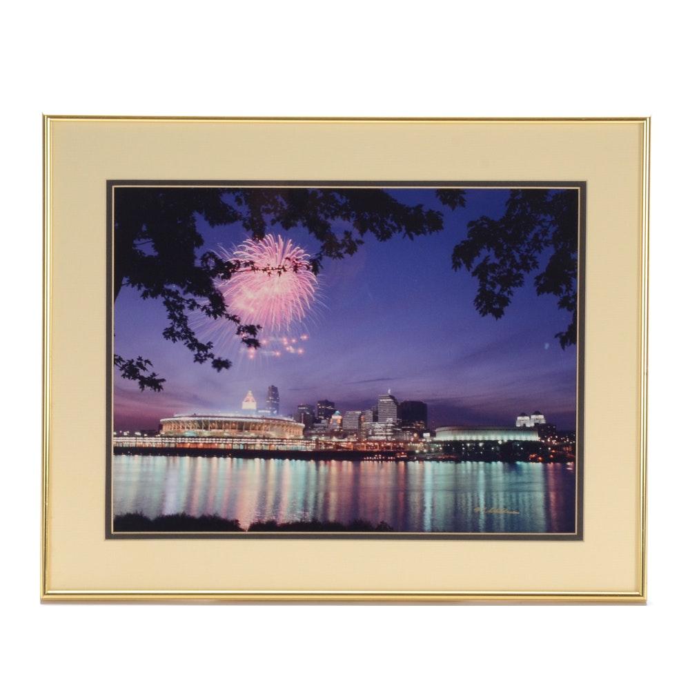 W.F. Schildman Color Photograph of Fireworks over Cincinnati Skyline