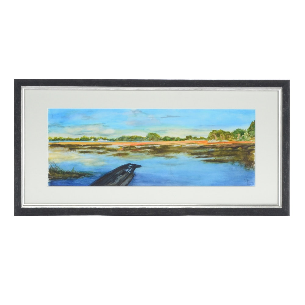 Signed Original Watercolor Painting of Lake Scene