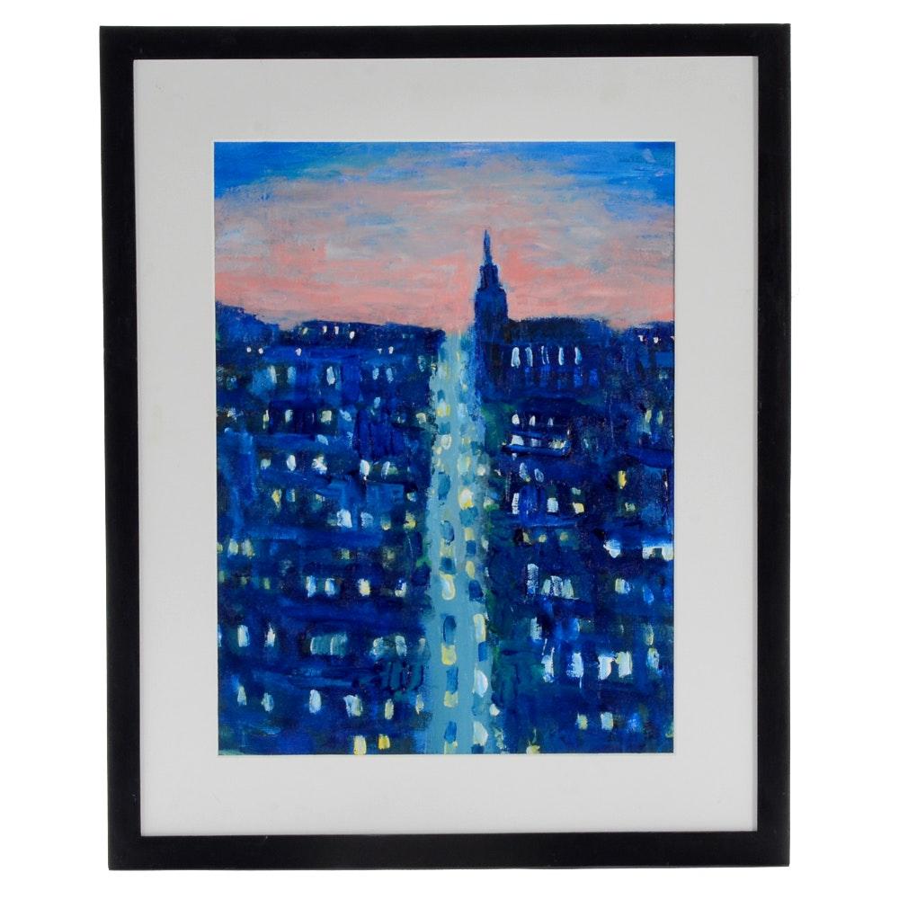 "William Becker Acrylic Painting ""Boston Sunrise"""