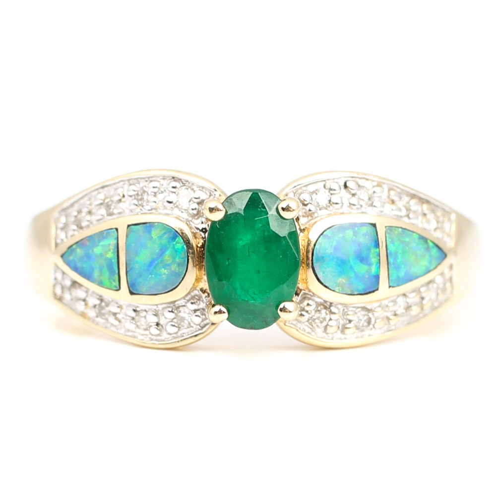 14K Yellow Gold Emerald, Diamond, and Opal Inlay Ring