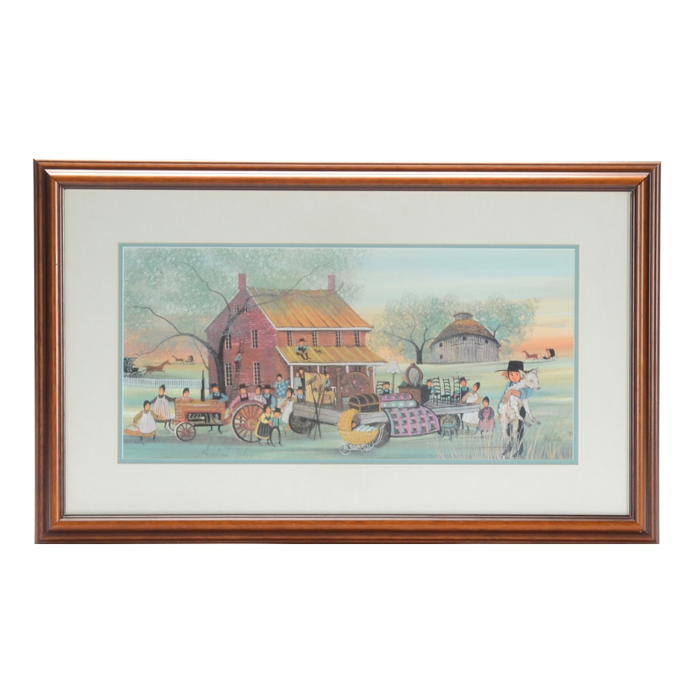 """P. Buckley Moss Limited Edition Offset Lithograph """"Auction Today"""""""