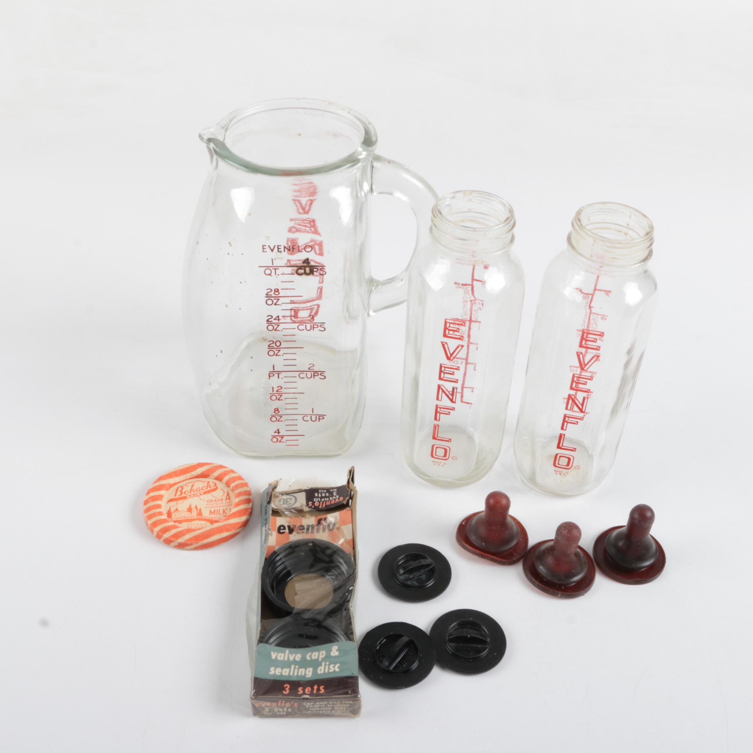 Vintage Evenflo Glass Baby Bottles, Measuring Pitcher and Accessories
