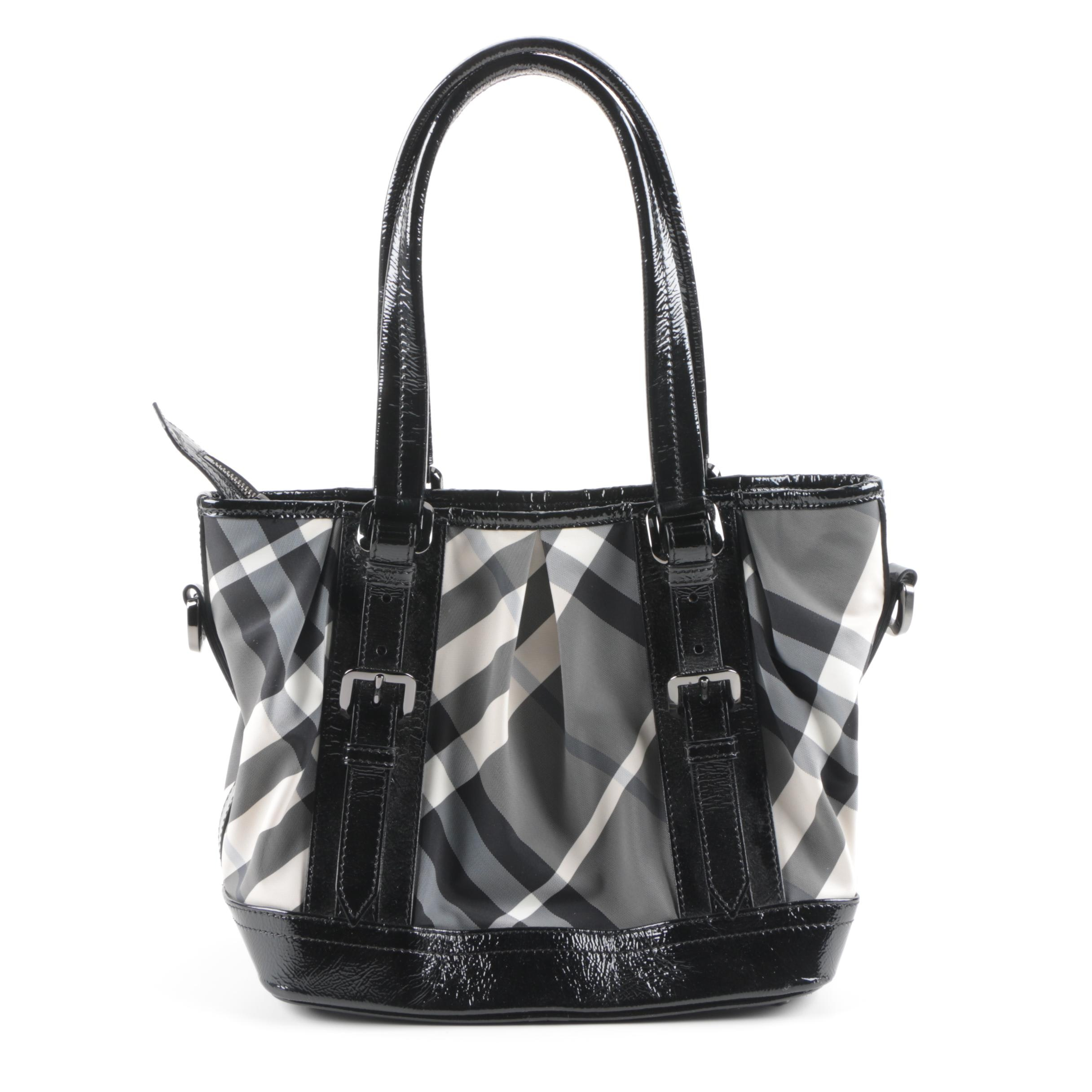 Burberry Lowry Baby Beat Patent Leather and Nylon Tote Bag