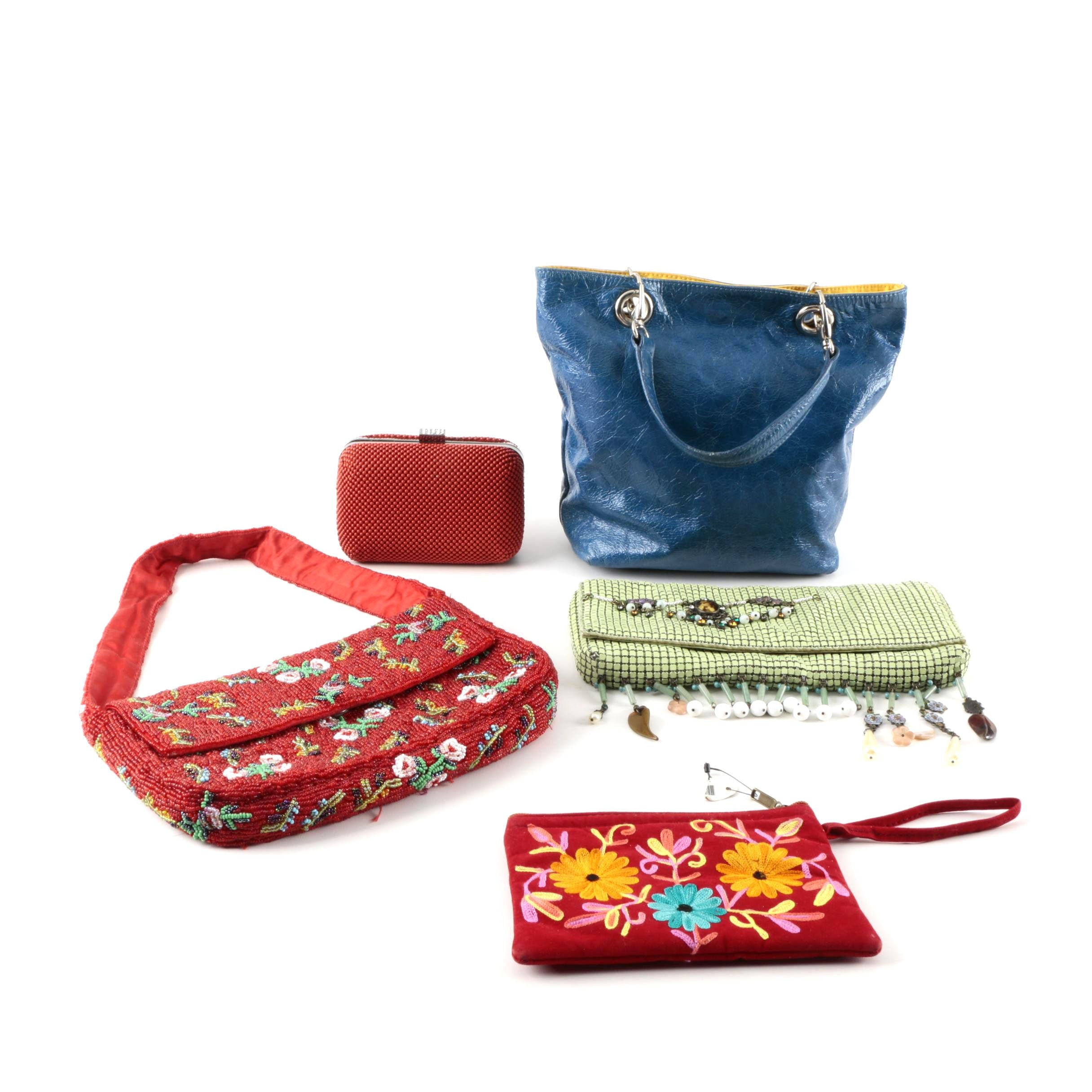 Leather and Beaded Handbags and Clutch Purses