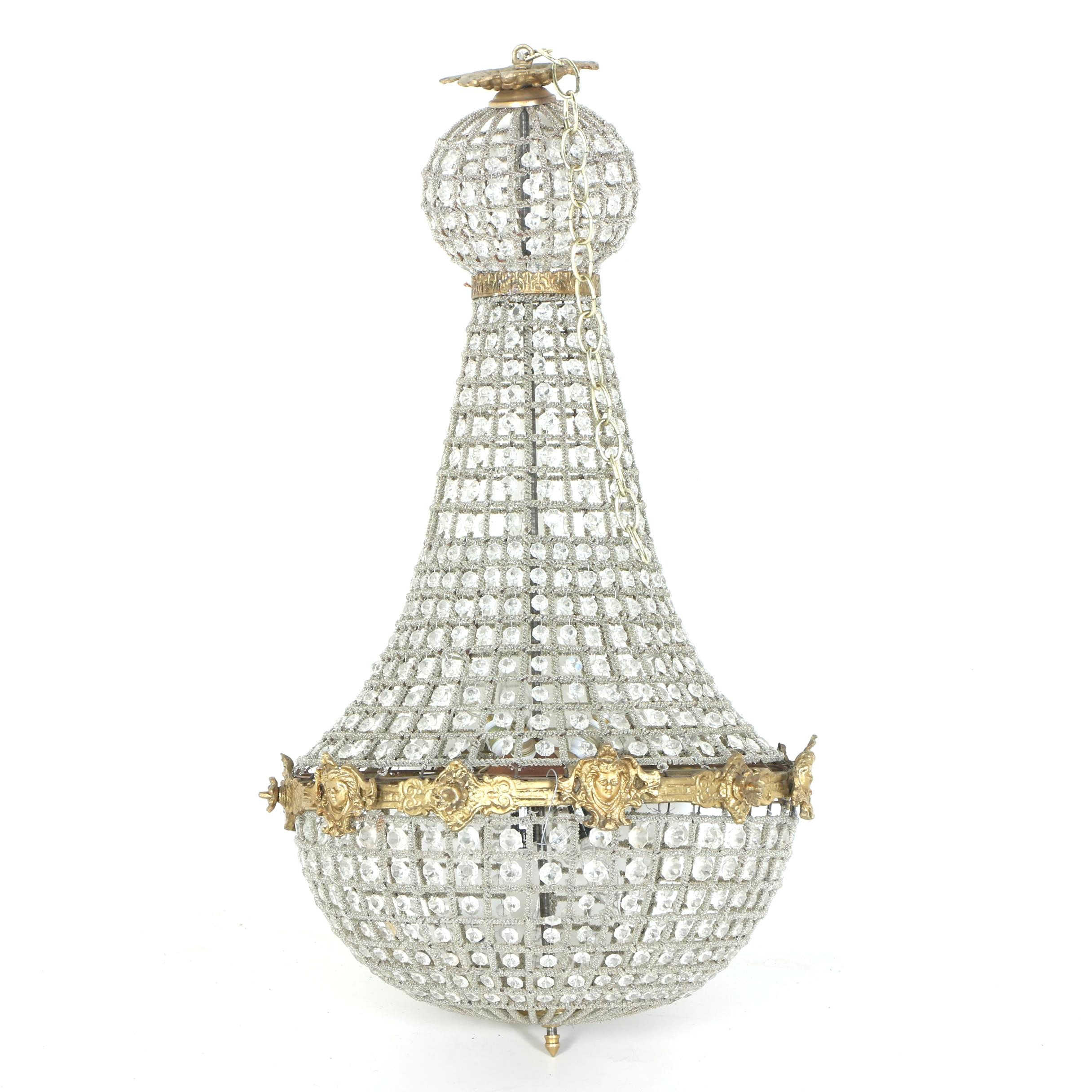 French Empire Style Basket Frame Chandelier