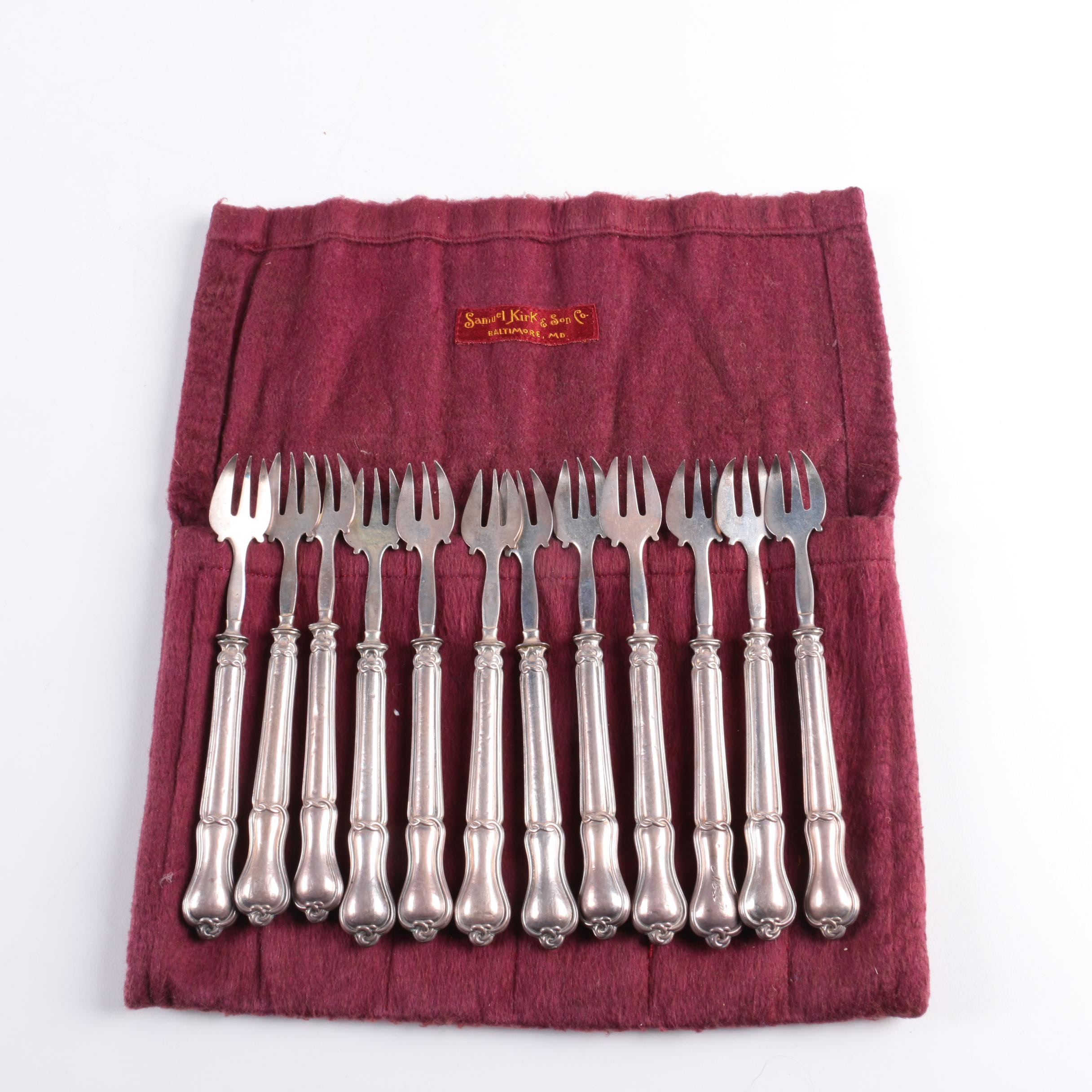Set of Sterling Handled Three-Tine Forks with Cloth Case