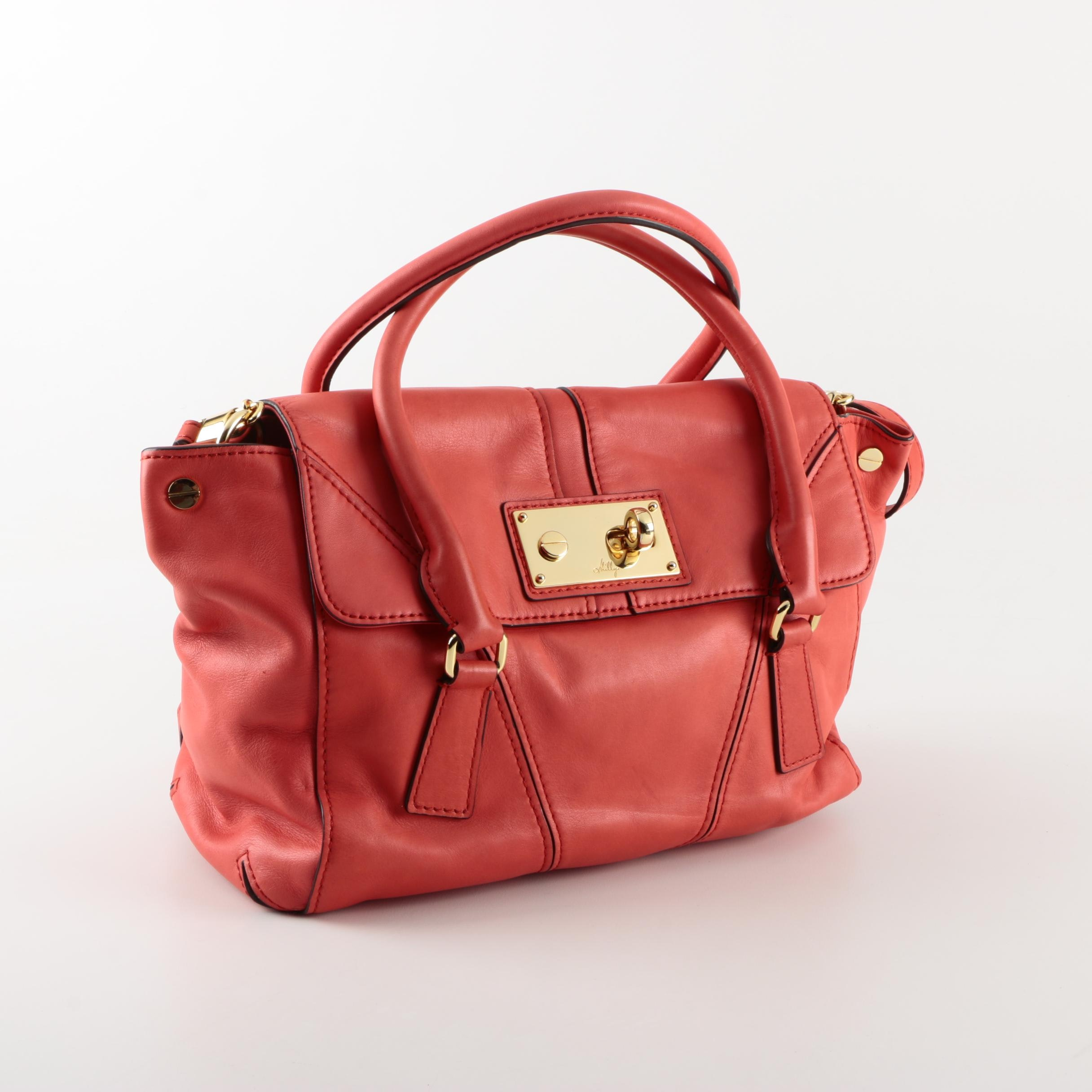Milly Coral Leather Handbag