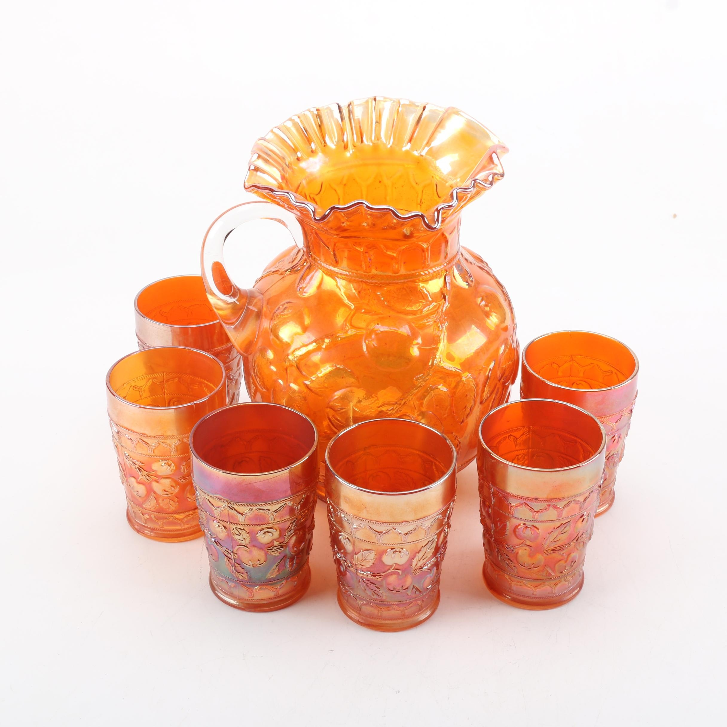 Vintage Orange Carnival Glass Pitcher and Cups