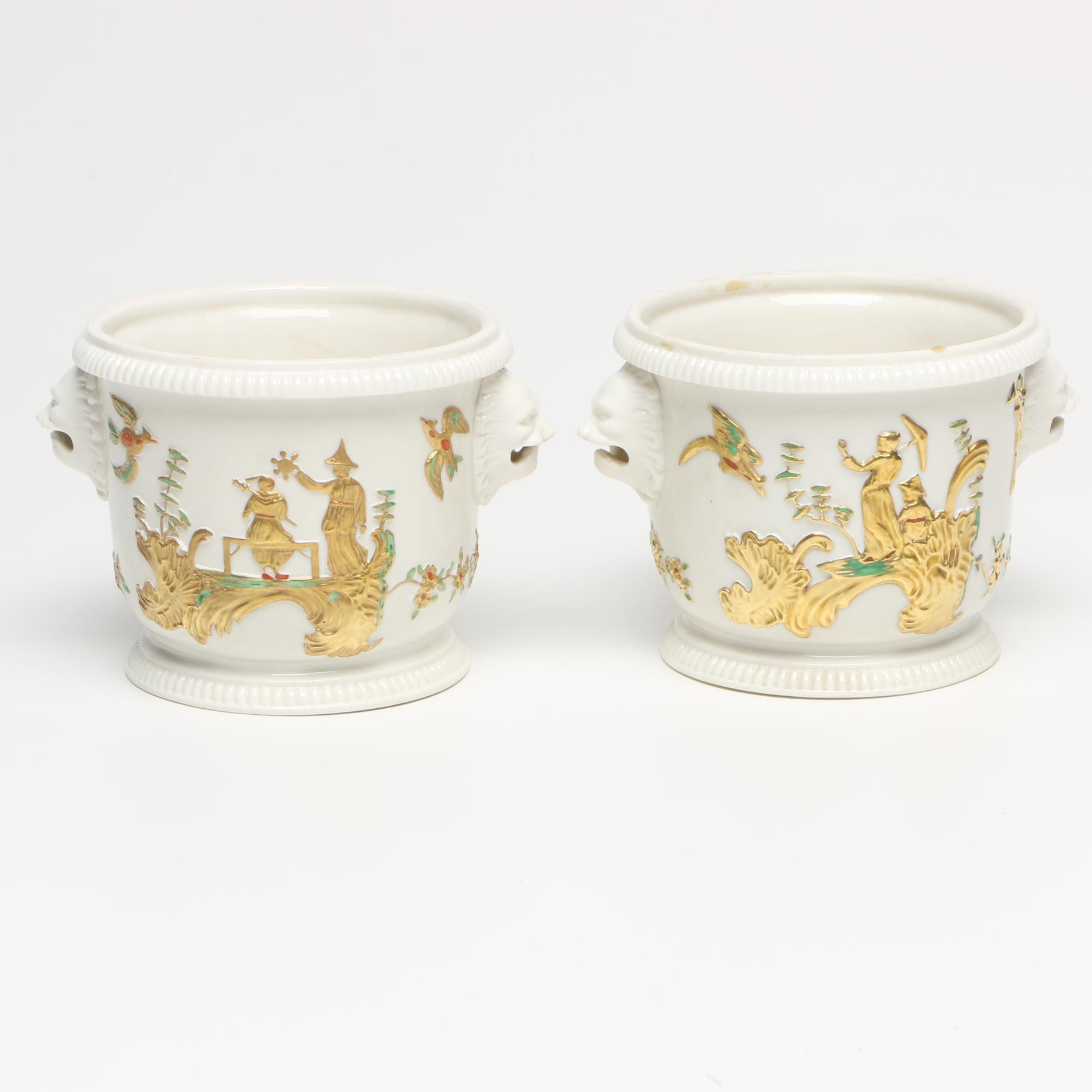 Pair of Mottahedeh Design Chinoiserie Cache Pots