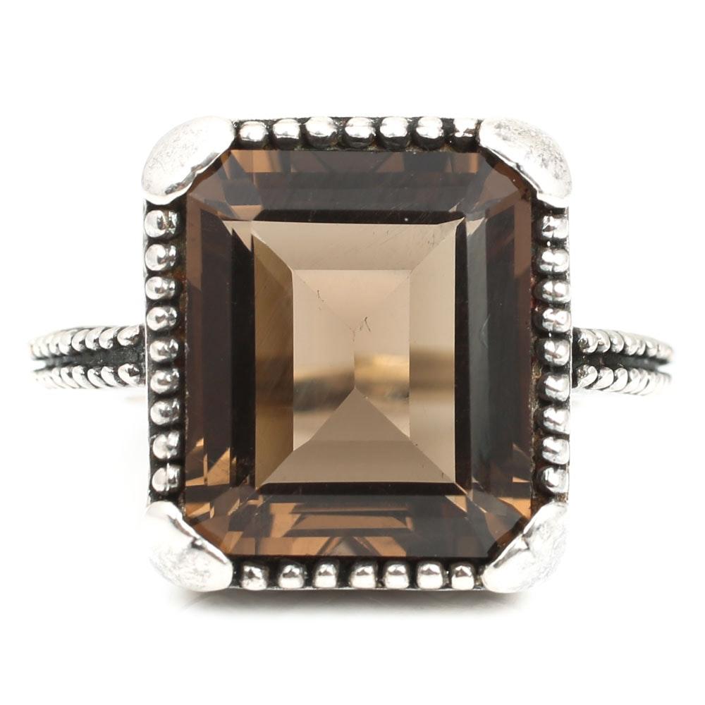 Sterling Silver 8.40 CT Smoky Quartz Ring